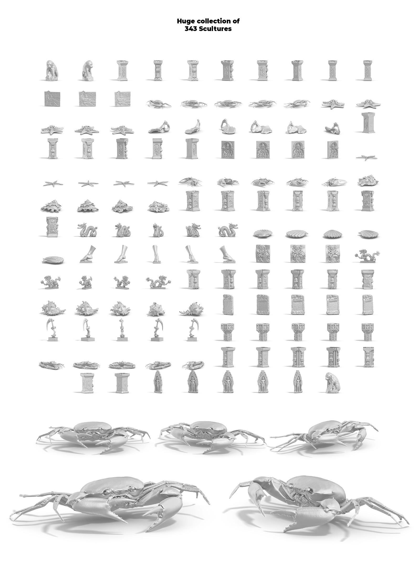 [淘宝购买] 128款多角度复古蒸汽波3D动物石膏雕塑PS设计素材 Collection Of 128 Sculptures Statue插图(4)