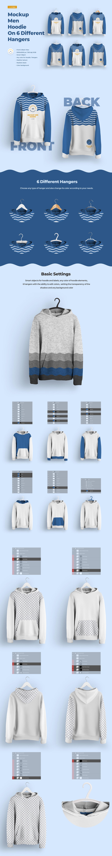 6种不同衣架男士连衣帽卫衣设计展示样机模板 Front and Back Men Hoodie Mockup On 6 Different Hangers插图