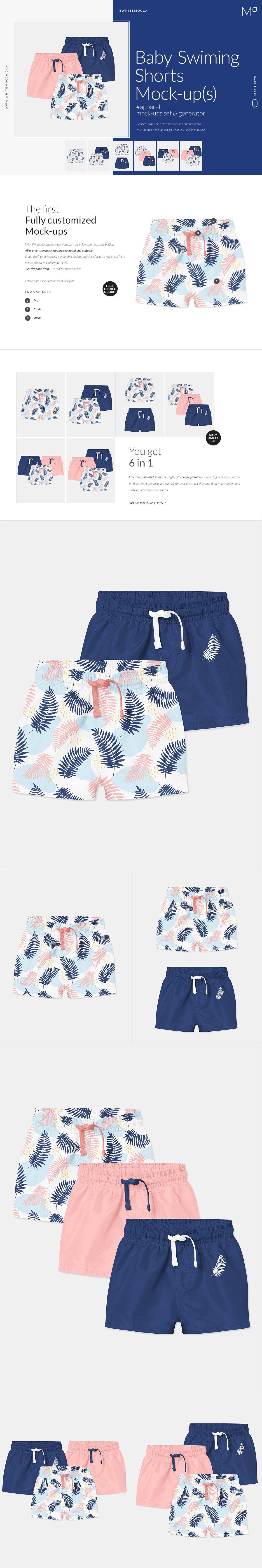 婴儿游泳短裤裤衩印花图案设计贴图样机套装 Baby Swimming Shorts Mockups Set插图
