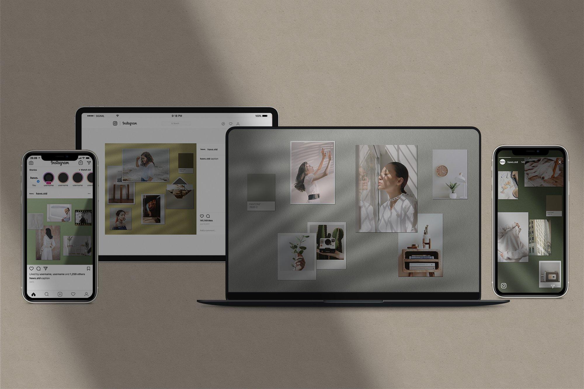 优雅剪贴相片情绪版卡片拼贴设计智能贴图展示样机 Moodboard Mockup Kit插图(1)