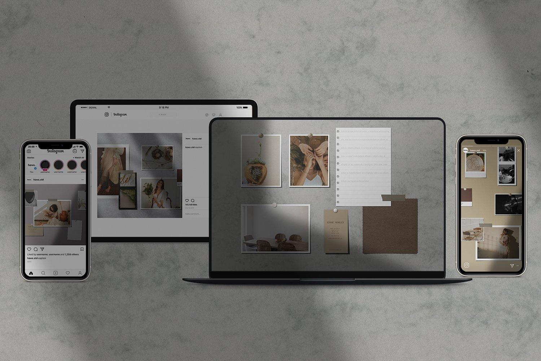 现代时尚剪贴相片情绪版卡片设计展示智能贴图样机模板 Moodboard Mockup Kit插图(1)
