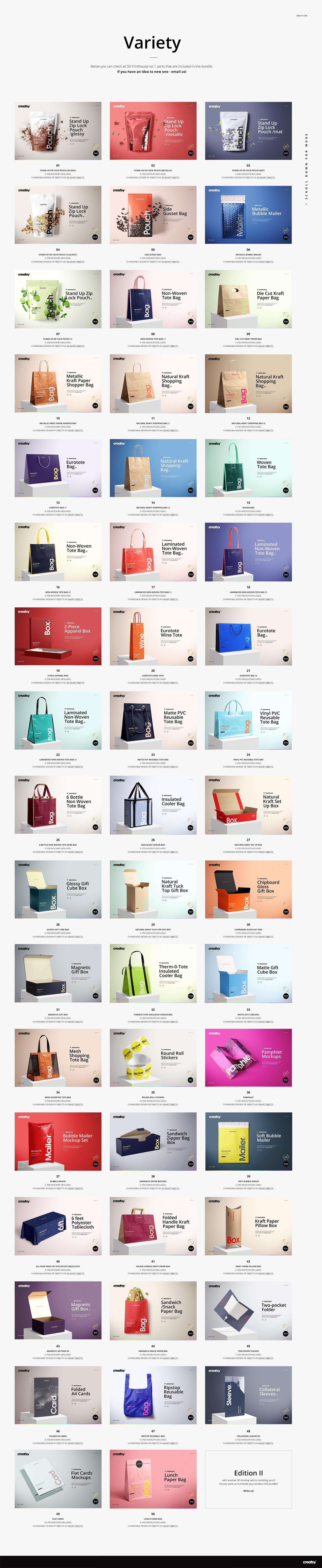 [淘宝购买] 273款时尚购物手提纸袋快递气泡塑料袋纸箱设计贴图PSD样机 Printhouse Mockups Bundle v.1插图(2)