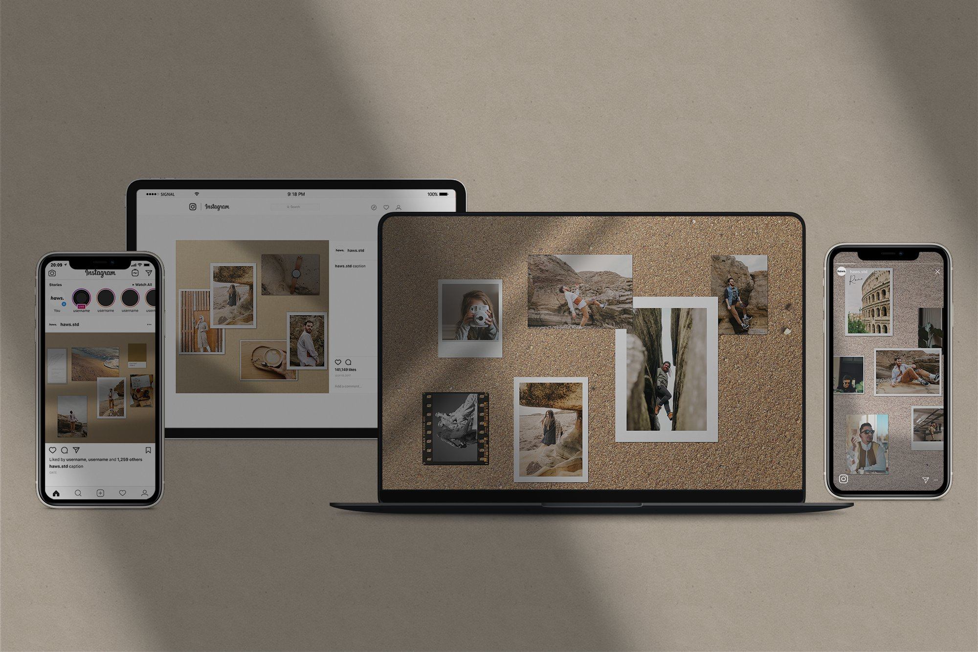 时尚优雅剪贴相片情绪版卡片设计展示智能贴图样机PSD模板 Moodboard Mockup Kit插图(1)