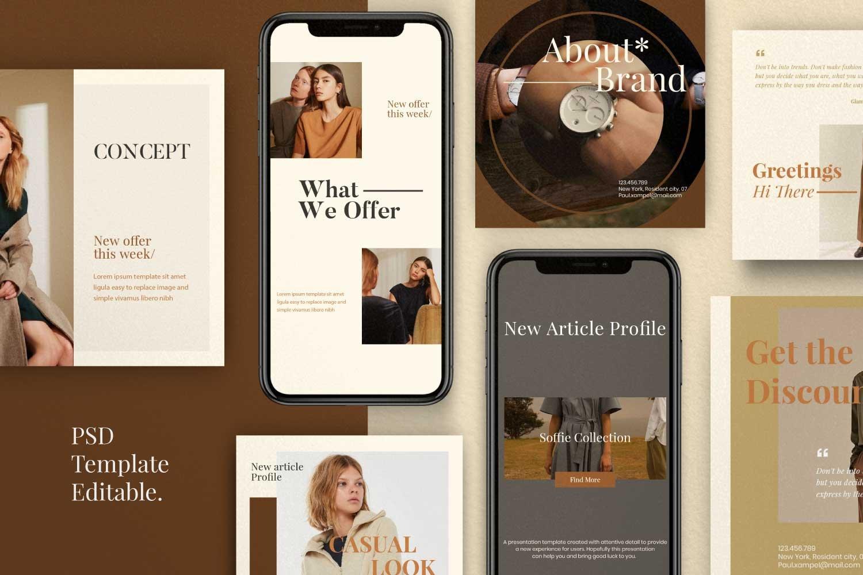 现代时尚服装品牌摄影推广新媒体电商海报模板 Soffie – Fashion Brand Social Media插图(1)