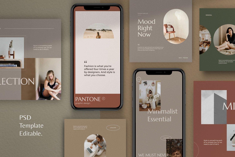 时尚优雅服装品牌推广新媒体电商海报设计PSD模板 Yohzan Instagram Post & Story Brand插图(1)