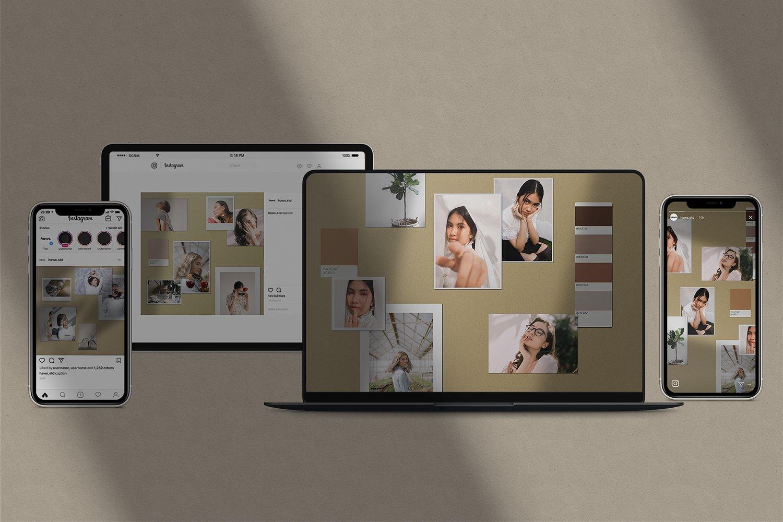 潮流剪贴相片情绪版卡片设计展示样机PSD模板 Moodboard Mockup Kit插图(1)