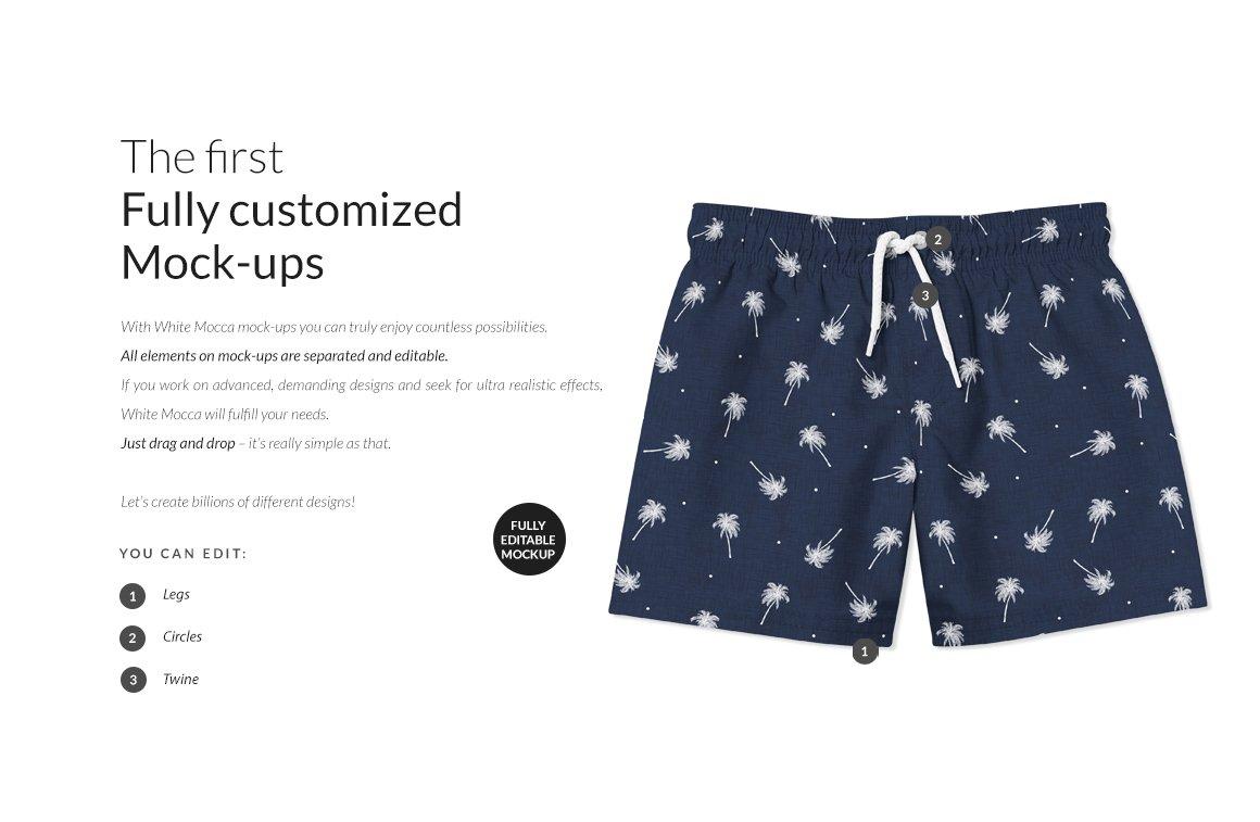 婴儿游泳短裤裤衩印花图案设计展示样机套装 Baby Swimming Shorts Mockups Set插图(1)