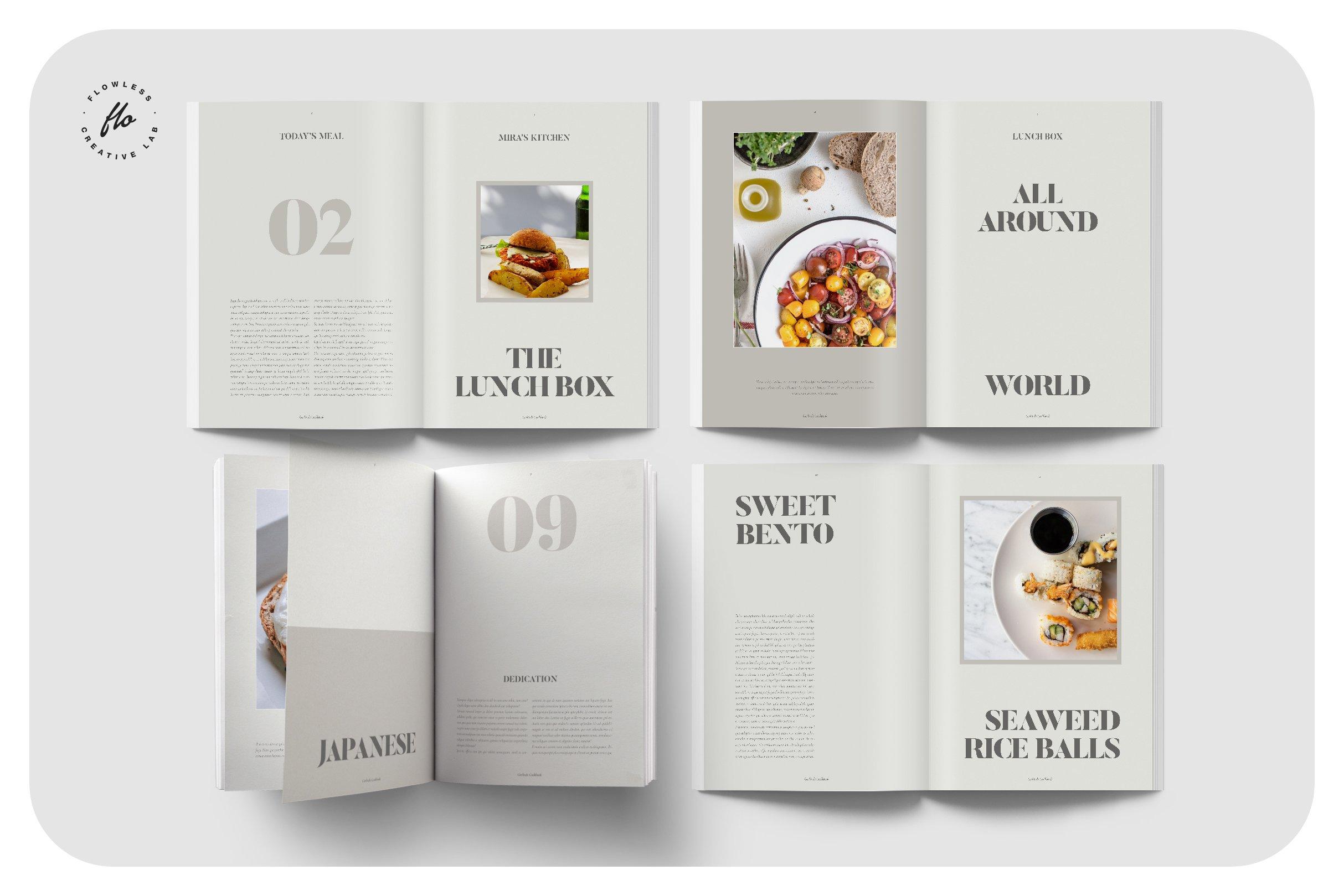 美食食谱菜单设计INDD画册模板 GERLIND Food Recipe Cookbook插图(1)