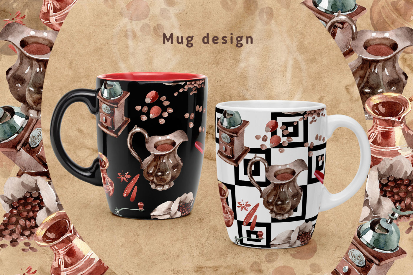 31款咖啡元素水彩剪贴画PNG免抠图片素材 Coffee House PNG Watercolor Set插图(1)