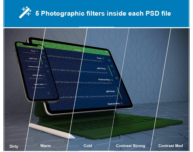 自适应网站APP设计苹果iPhone & iPad Pro屏幕演示样机模板 Arabic iPhone & iPad Pro Mockup插图(1)