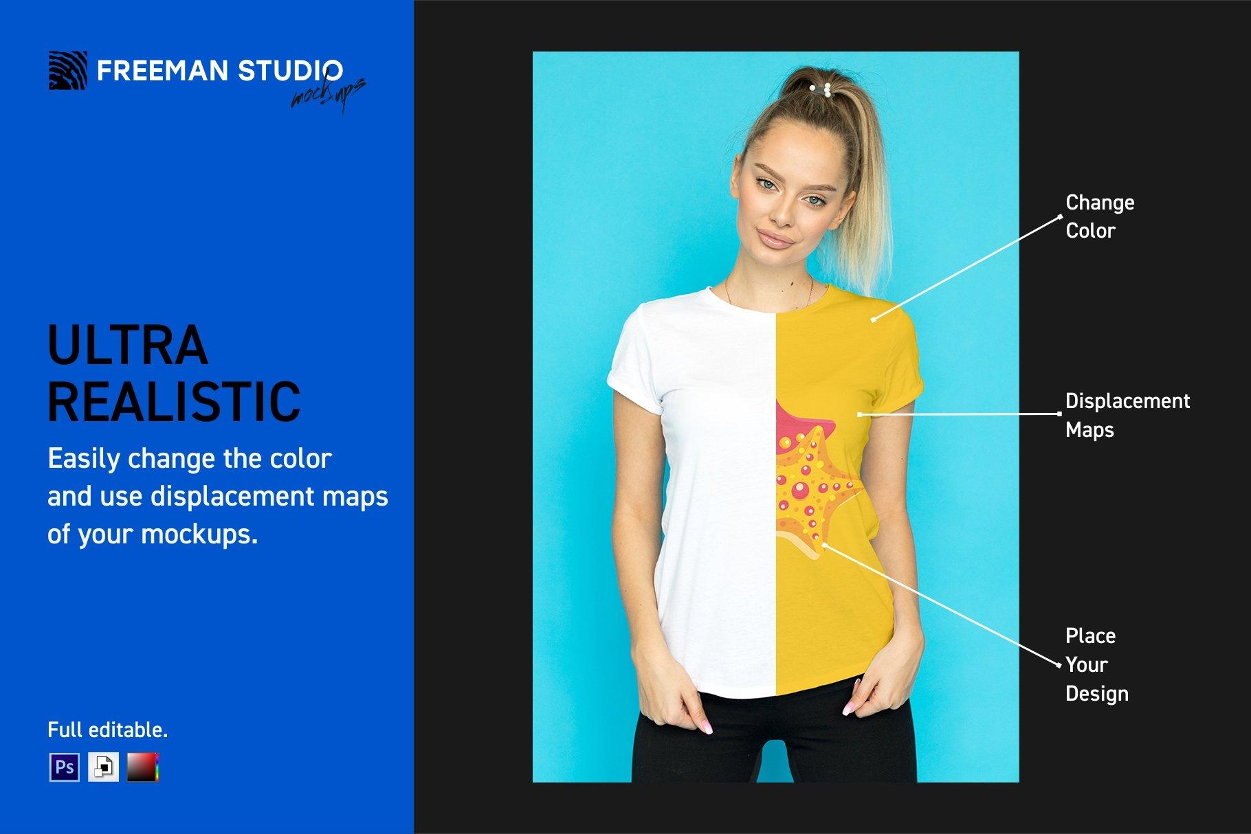 12个女式T恤半袖衫印花图案设计展示样机模板 T-Shirt Mockup Set插图(1)