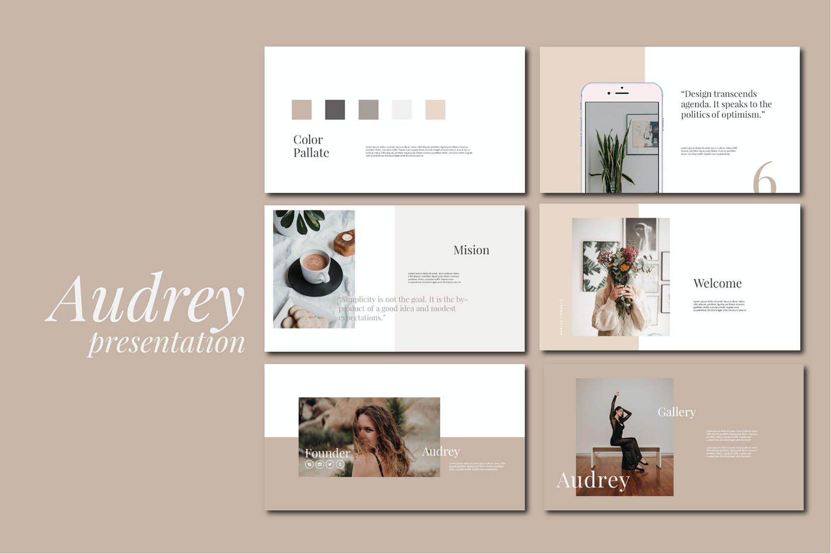 时尚简约摄影作品集图文排版设计演示文稿模板 Audrey – Powerpoint Template插图(1)