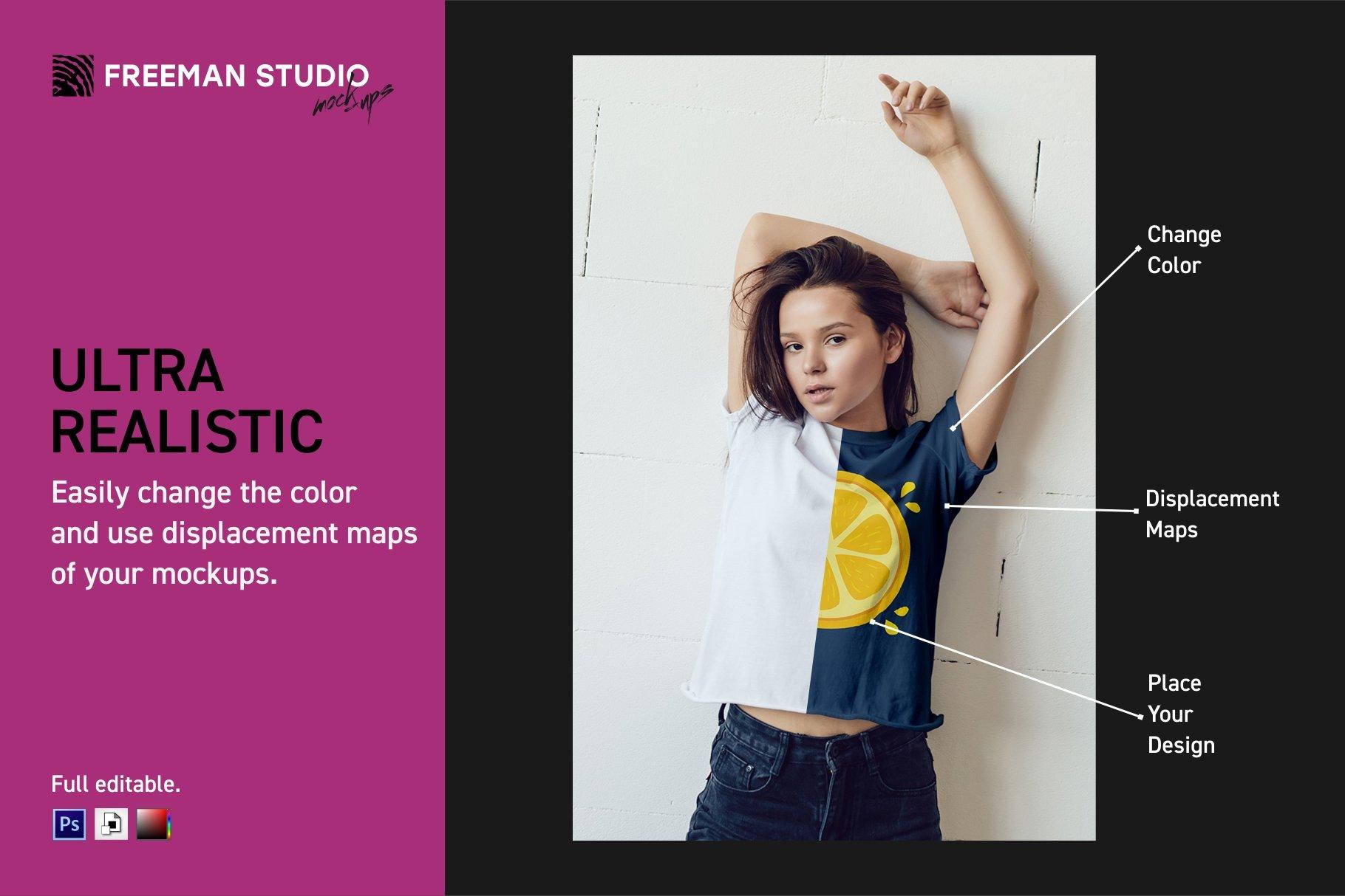 青少年T恤半袖衫印花图案设计展示样机合集 Teenager T-Shirt Mockup Set插图(2)