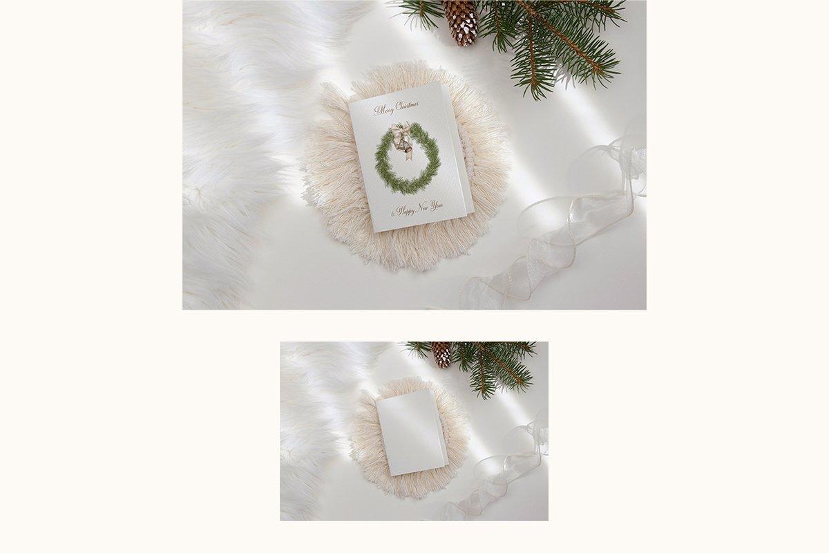 23款简约带阴影圣诞节贺卡卡片样机套装 Christmas Bundle Card Mockup插图(1)