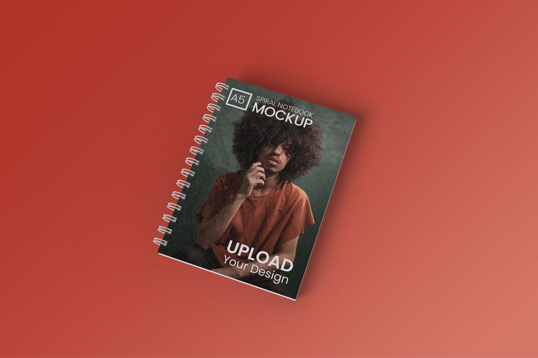 A5螺旋笔记本设计贴图样机模板 A5 Spiral Notebook Mockup插图(1)