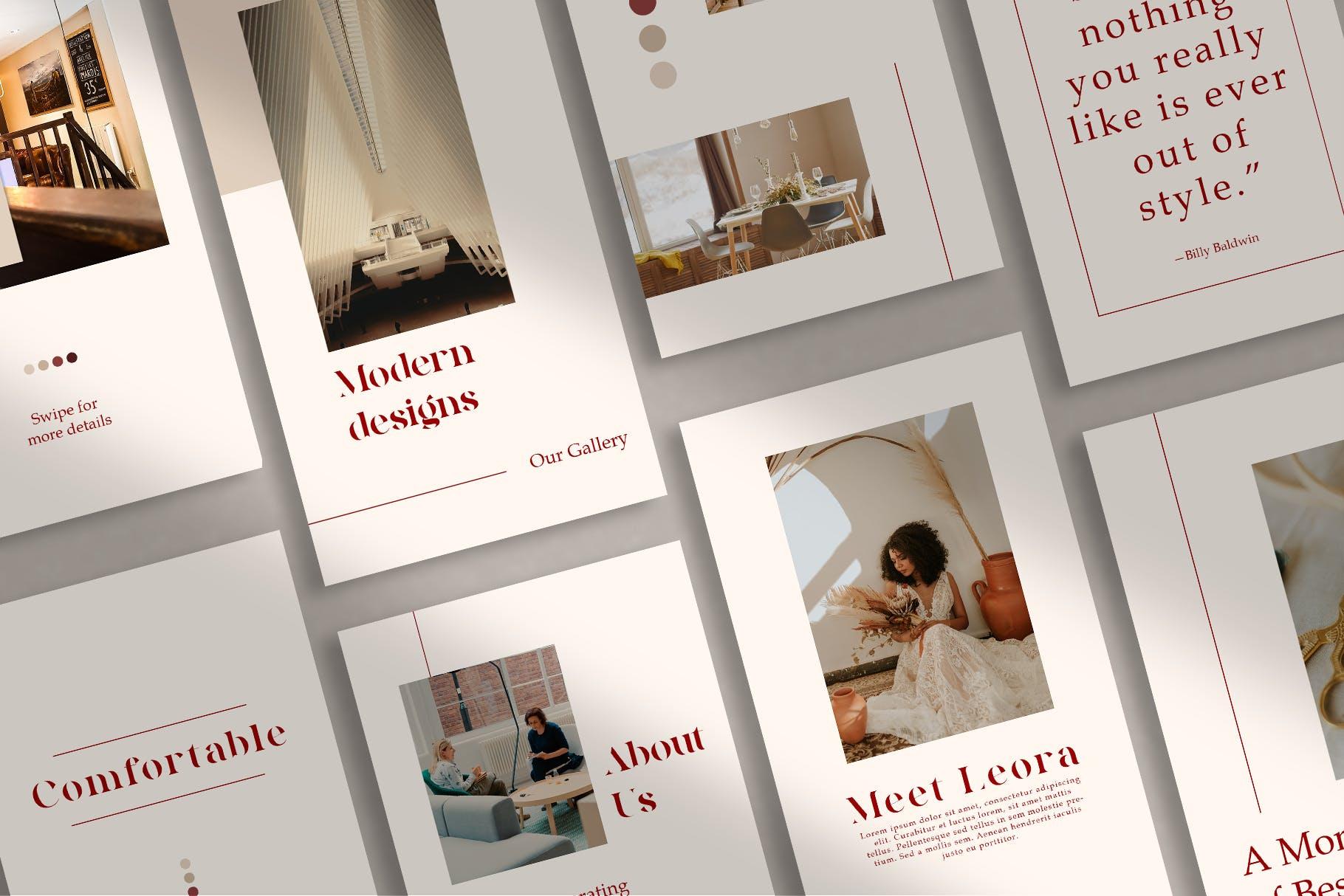 时尚室内设计摄影作品集推广新媒体电商海报模板 Walnut – Instagram Template插图(1)