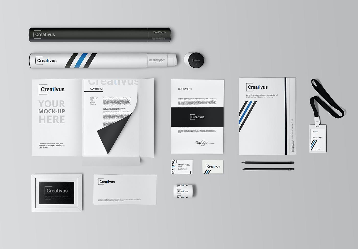 7款品牌LOGO设计办公用品展示贴图样机 Branding Stationery Mockup插图(1)