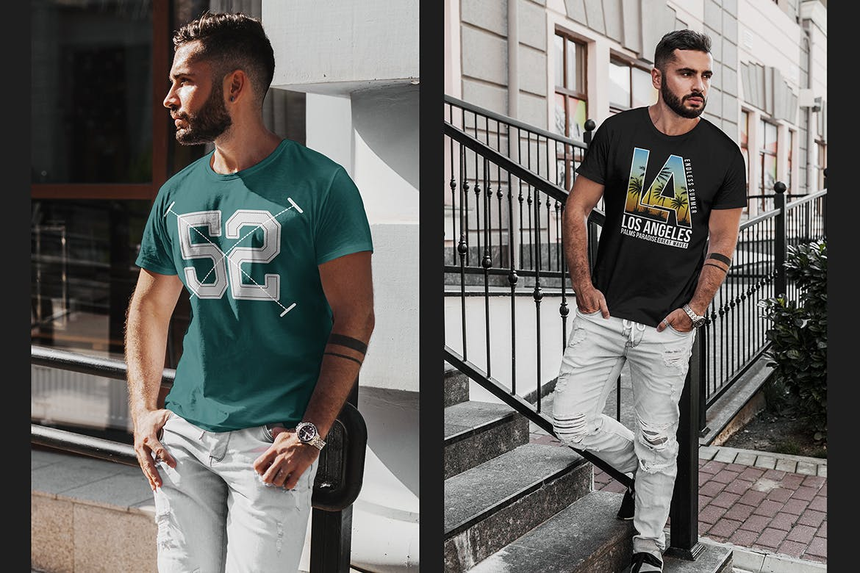 8款都市风男士T恤半袖衫印花设计展示贴图样机 T-Shirt Mockup Stylish Men插图(1)