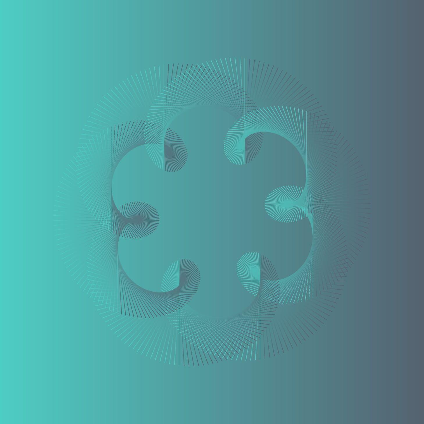 8款螺旋状线条网格矢量图案素材 Geometric Spiral Collection插图(1)