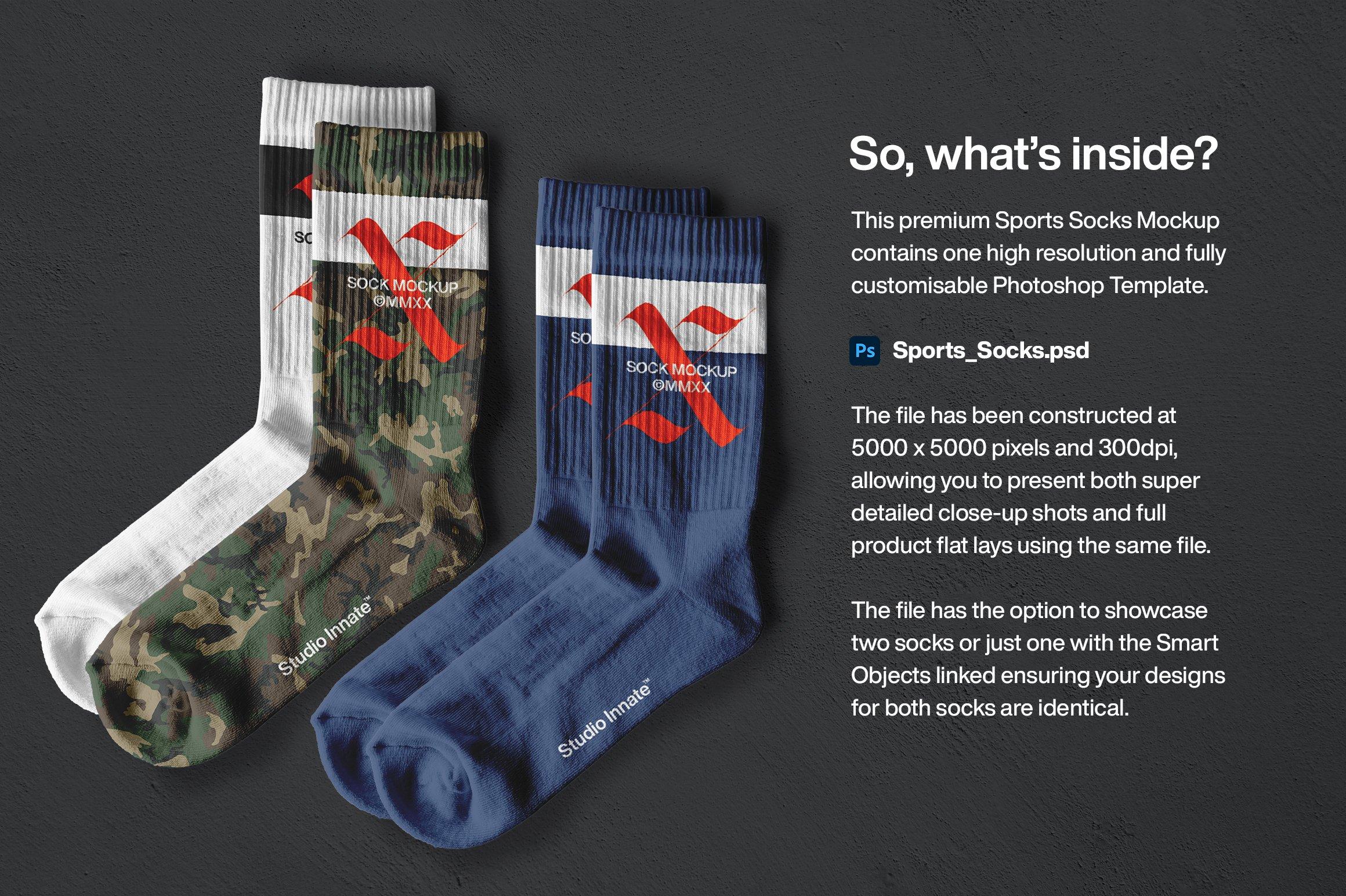 简约运动长筒袜子印花图案设计展示贴图样机 Sports Socks Mockup插图(1)