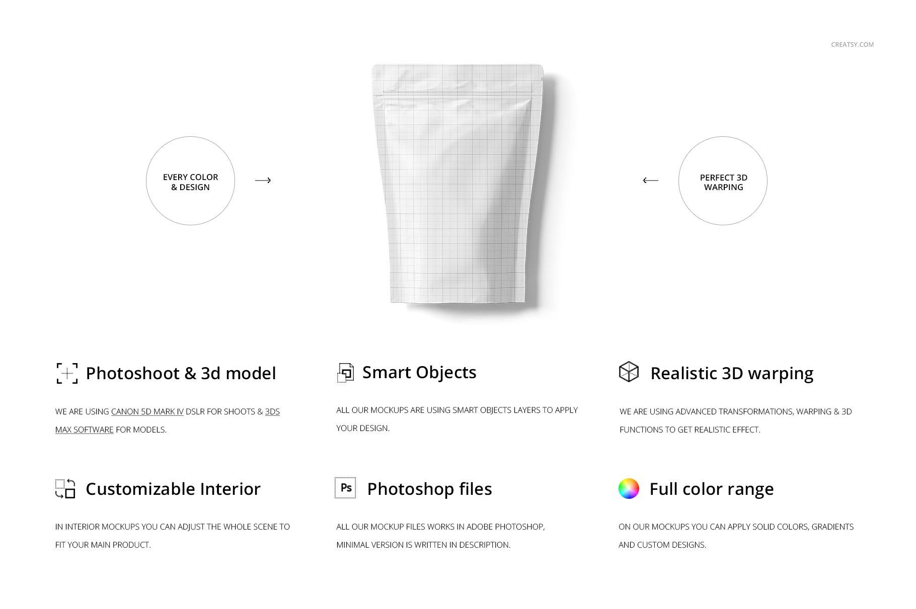 简约立式拉链锁食品自封袋塑料袋设计展示样机合集 Stand Up Pouch (mat) Mockup Set插图(1)