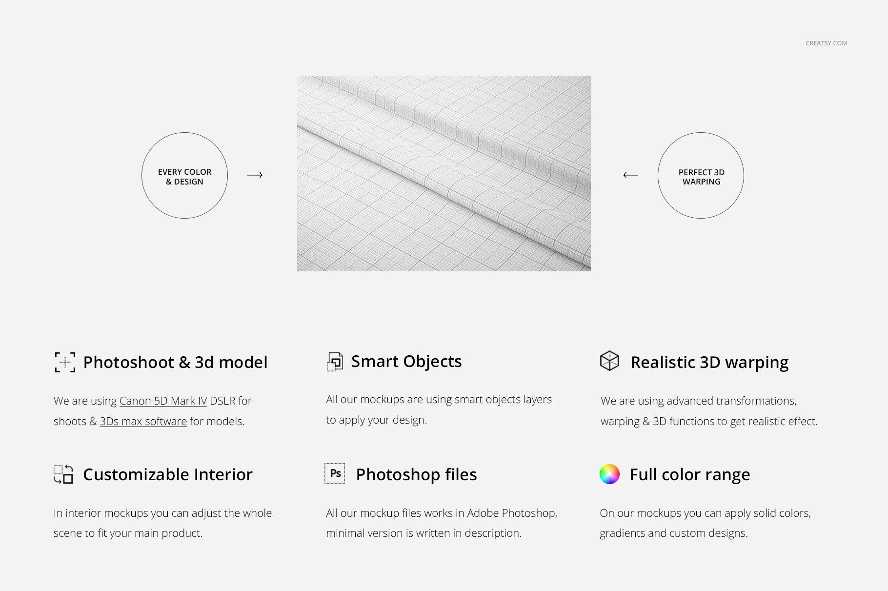 褶皱纺织面料印花图案设计展示样机模板 Lying Fabric Mockup 26/FF v.6插图(1)