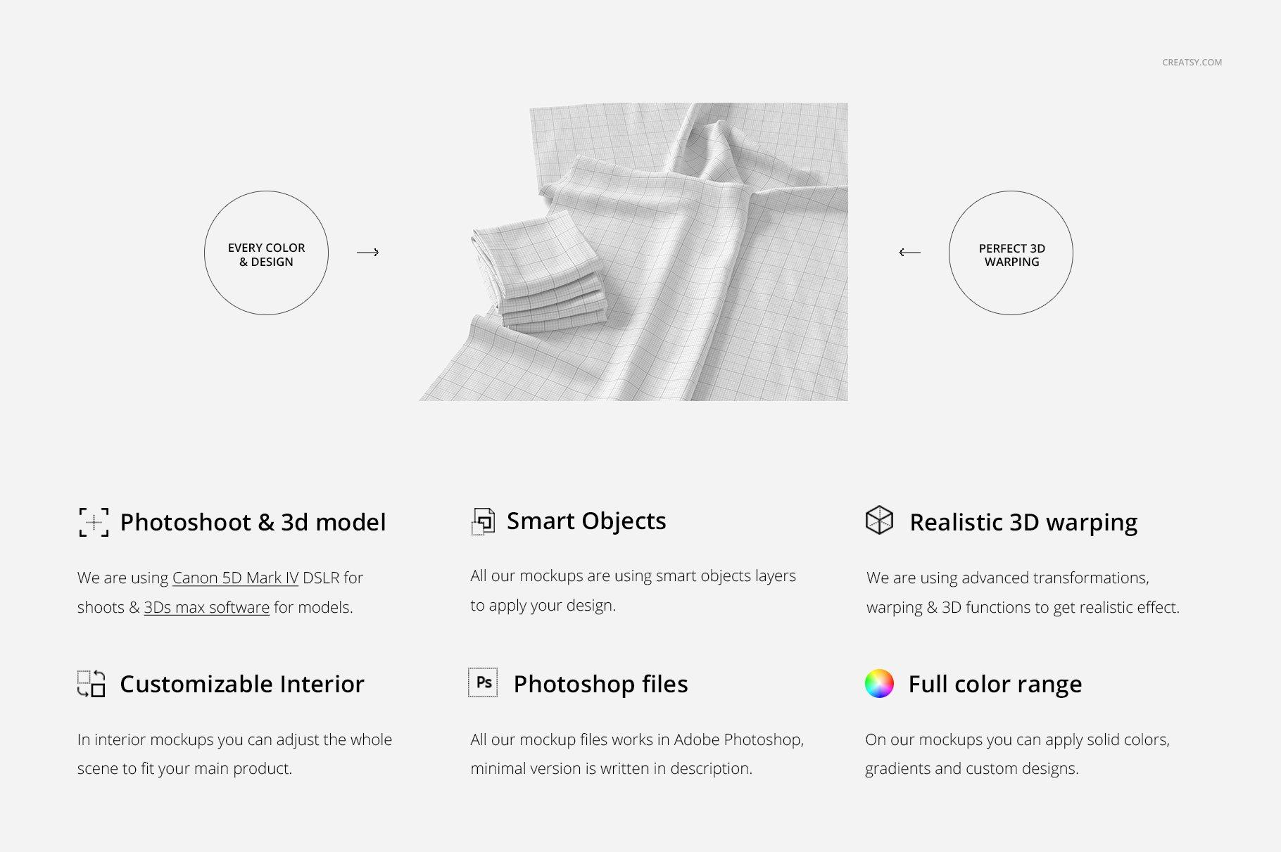 折叠织物面料印花图案设计贴图样机PSD模板 Folded Fabrics Mockup 28/FF v.6插图(1)