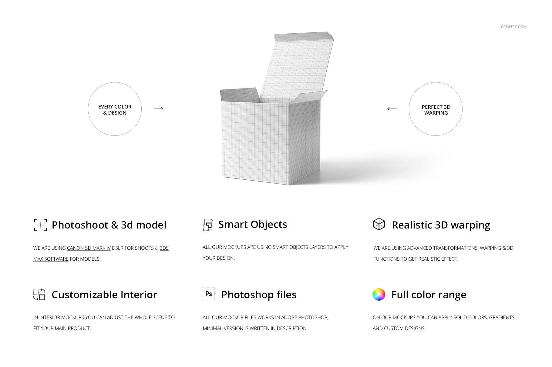方形哑光产品礼品包装纸盒设计贴图样机套装 Matte Gift Square Box Mockup Set插图(1)