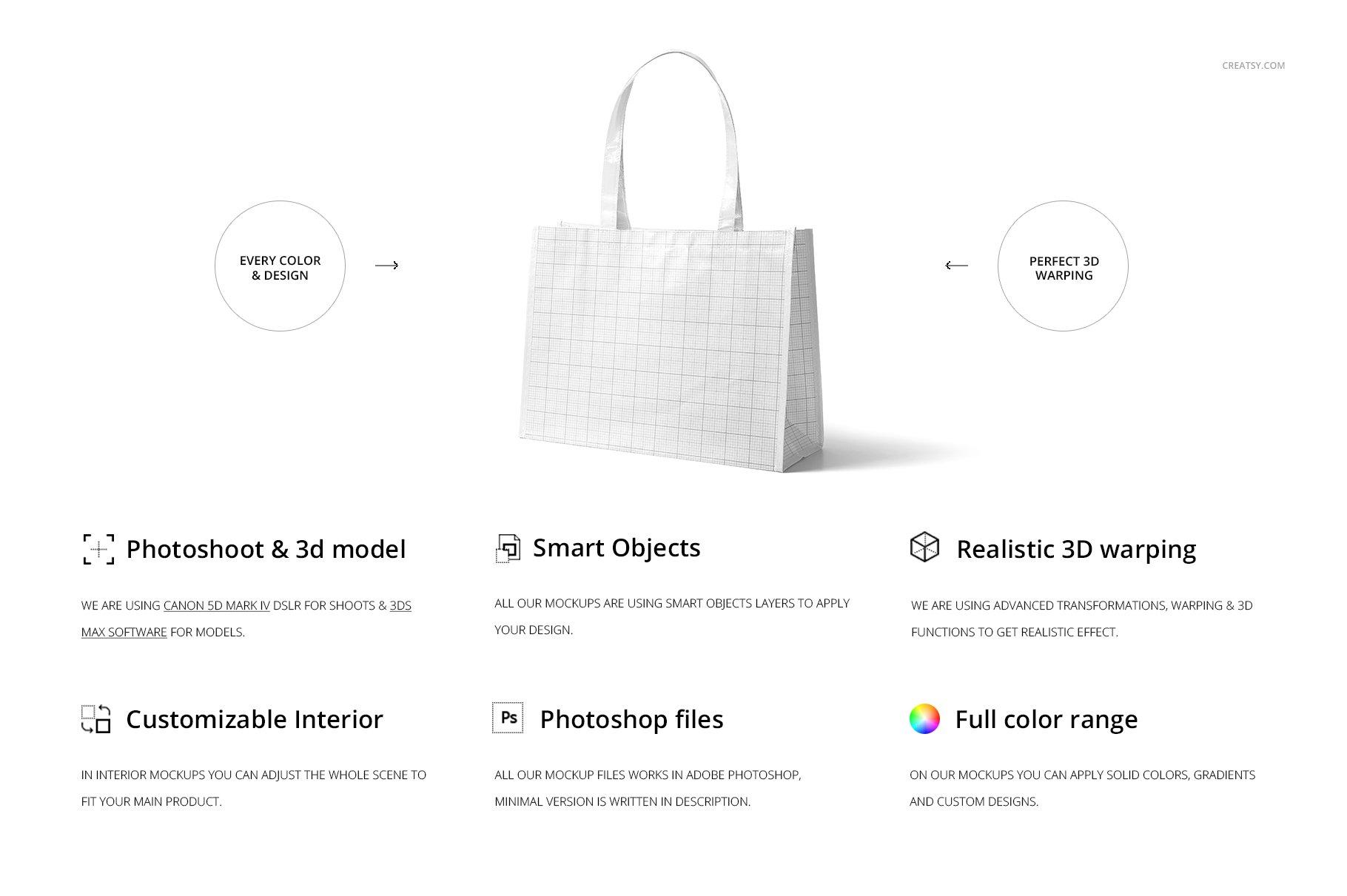 层压光面无纺布购物手提袋设计贴图样机模板套装 Laminated Non-Woven Tote Bag Mockups插图(1)