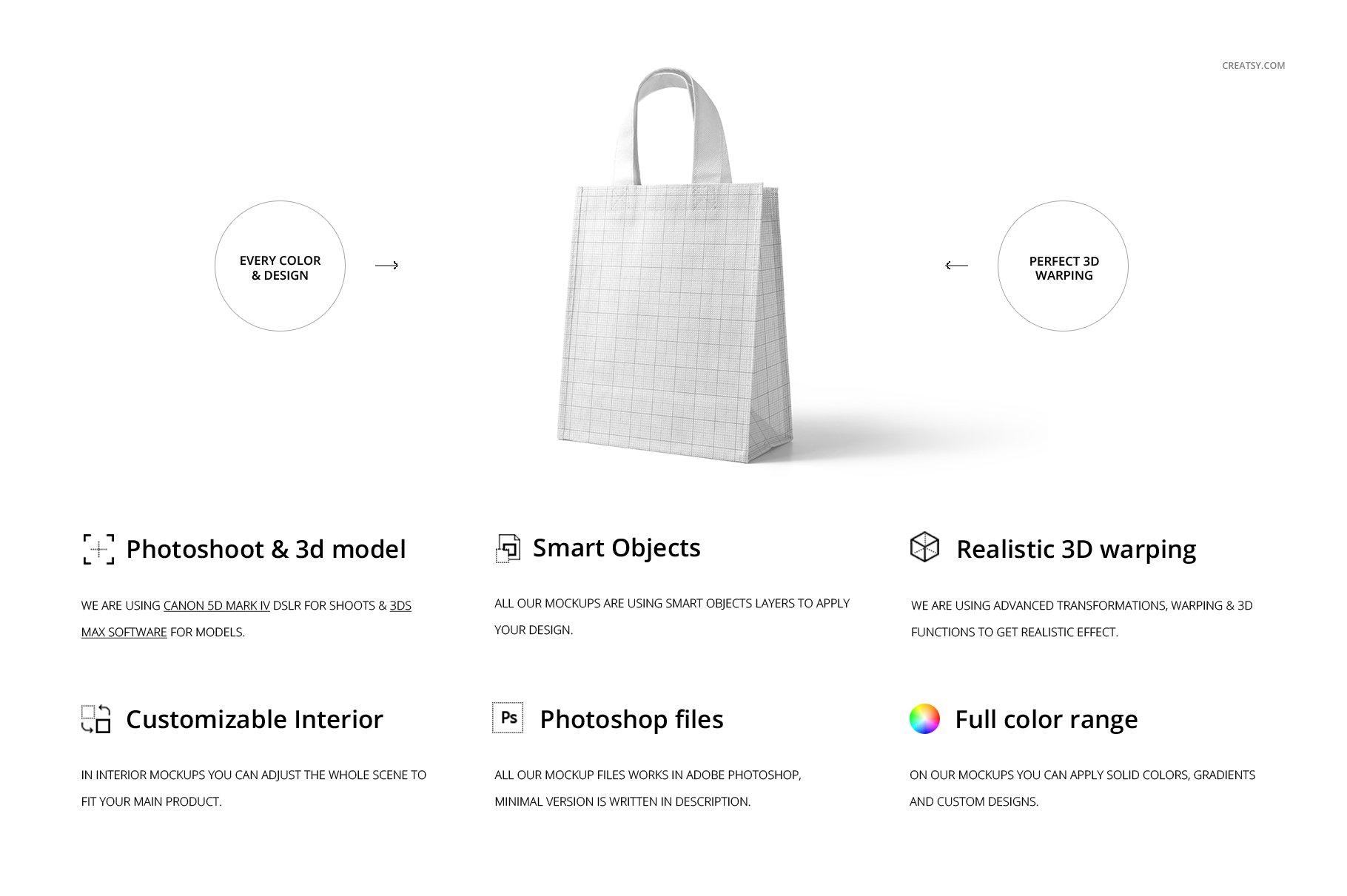 [淘宝购买] 无纺布袋手提袋设计展示样机模板套装 Non-Woven Tote Bag Mockup Set插图(1)