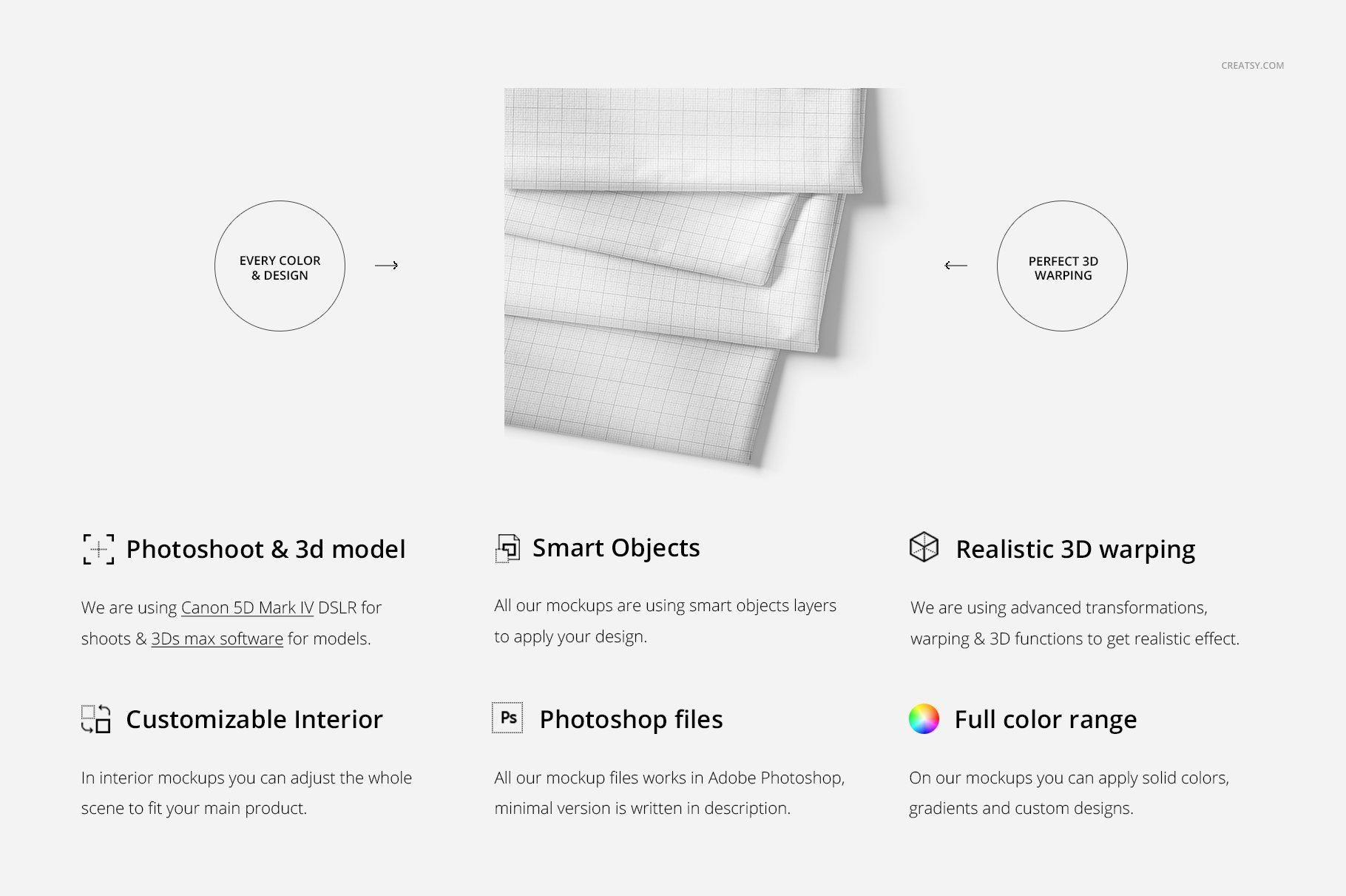 折叠织物面料印花图案设计贴图样机 Folded Fabrics Mockup 24/FF v.6插图(1)