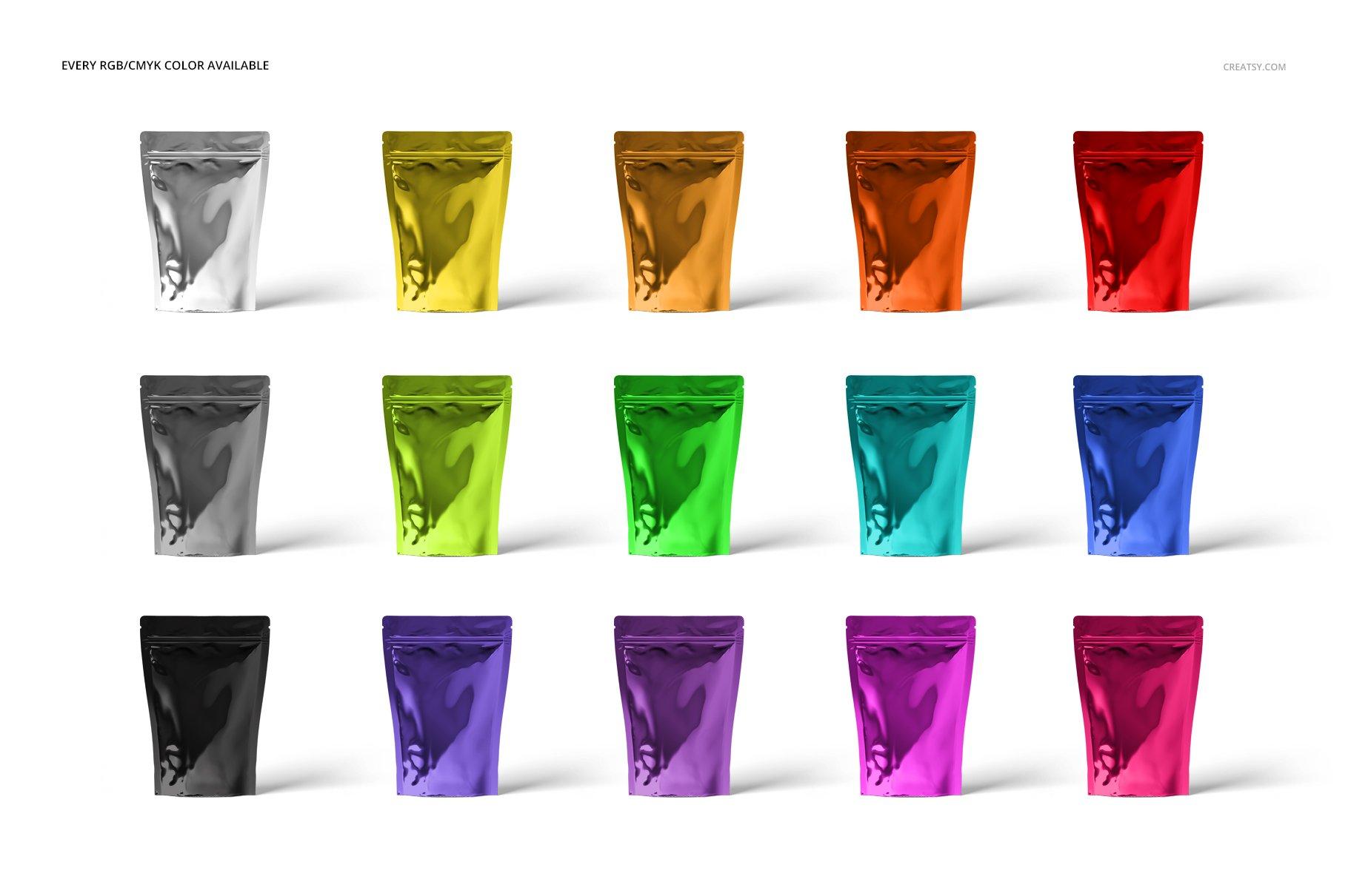 时尚立式拉链锁自封袋塑料袋铝箔袋设计展示样机合集 Stand Up Pouch (metallic) Mockup Set插图(2)