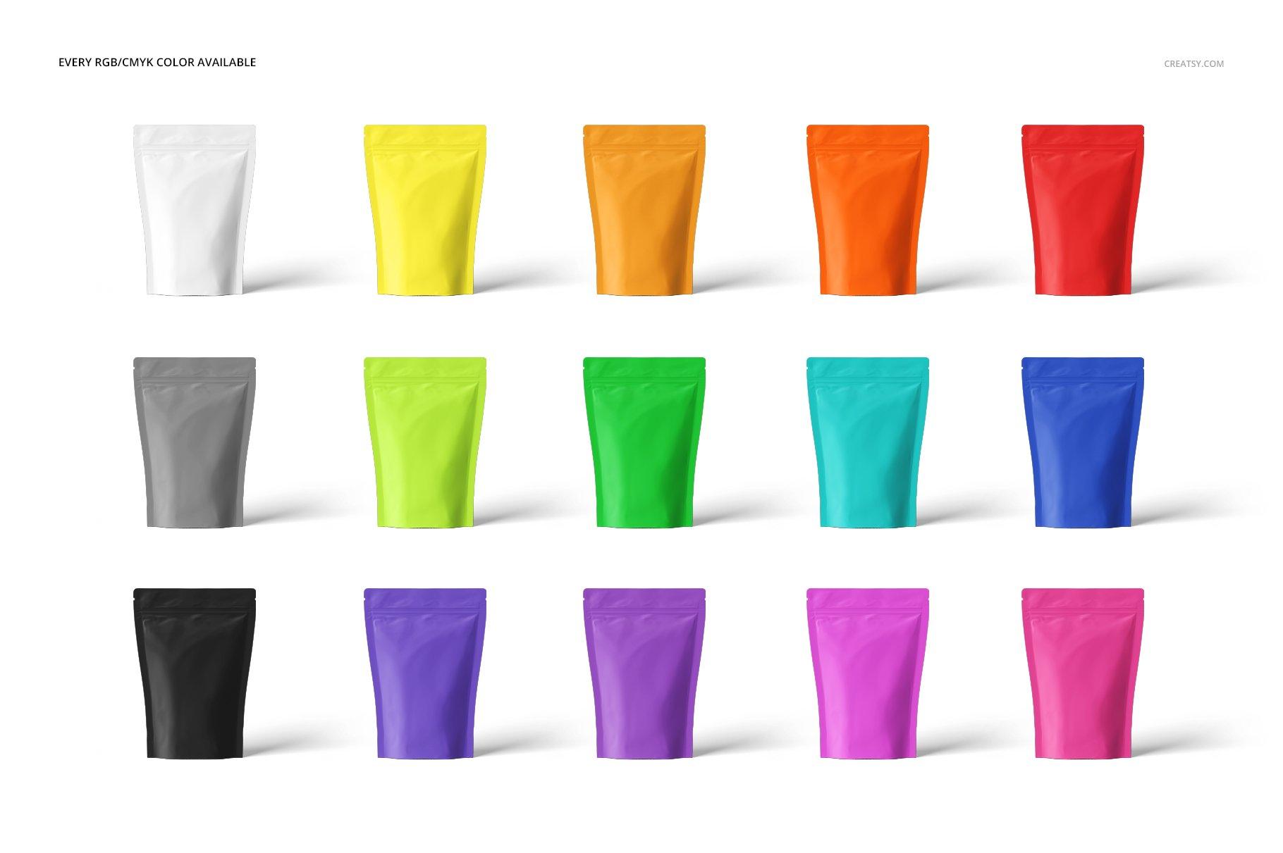 简约立式拉链锁食品自封袋塑料袋设计展示样机合集 Stand Up Pouch (mat) Mockup Set插图(2)