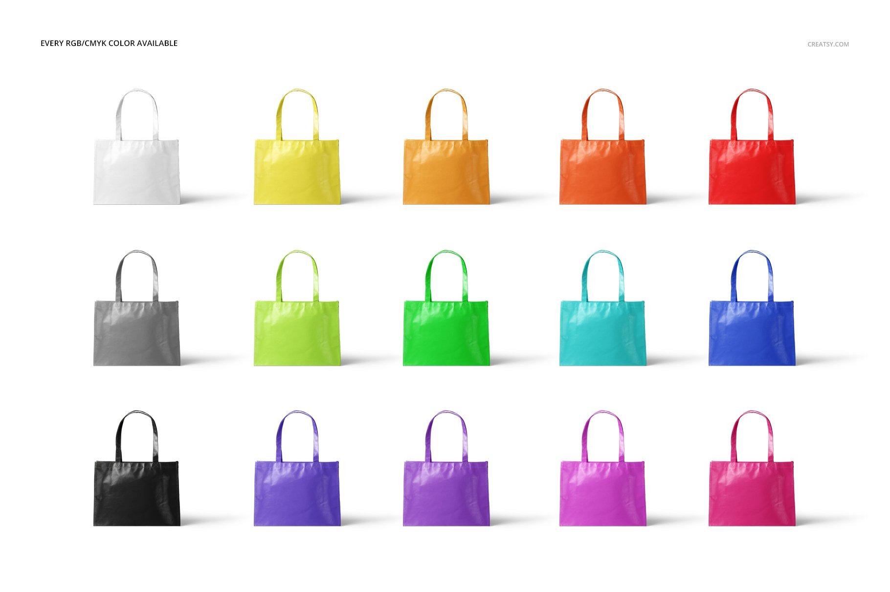 层压光面无纺布购物手提袋设计贴图样机模板套装 Laminated Non-Woven Tote Bag Mockups插图(2)