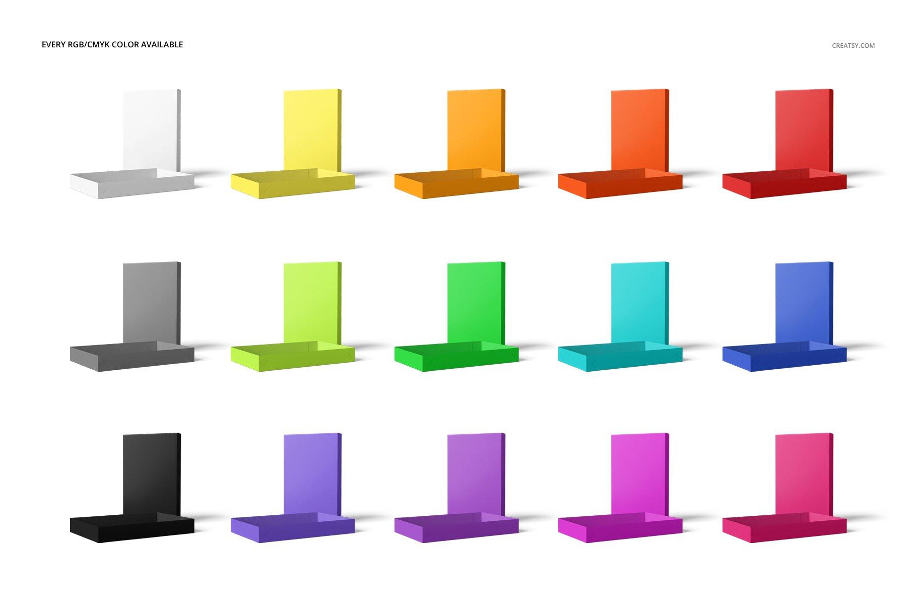 现代时尚服装纸盒设计展示贴图样机模板合集 2-Piece Apparel Box Mockup Set插图(2)