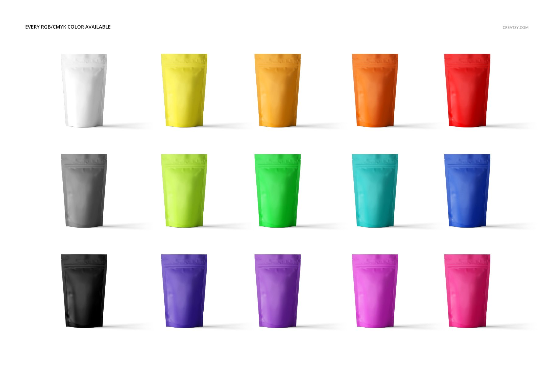 简约立式拉链锁食品自封袋塑料袋设计展示样机合集 Stand Up Pouch Mockup Set 2插图(2)