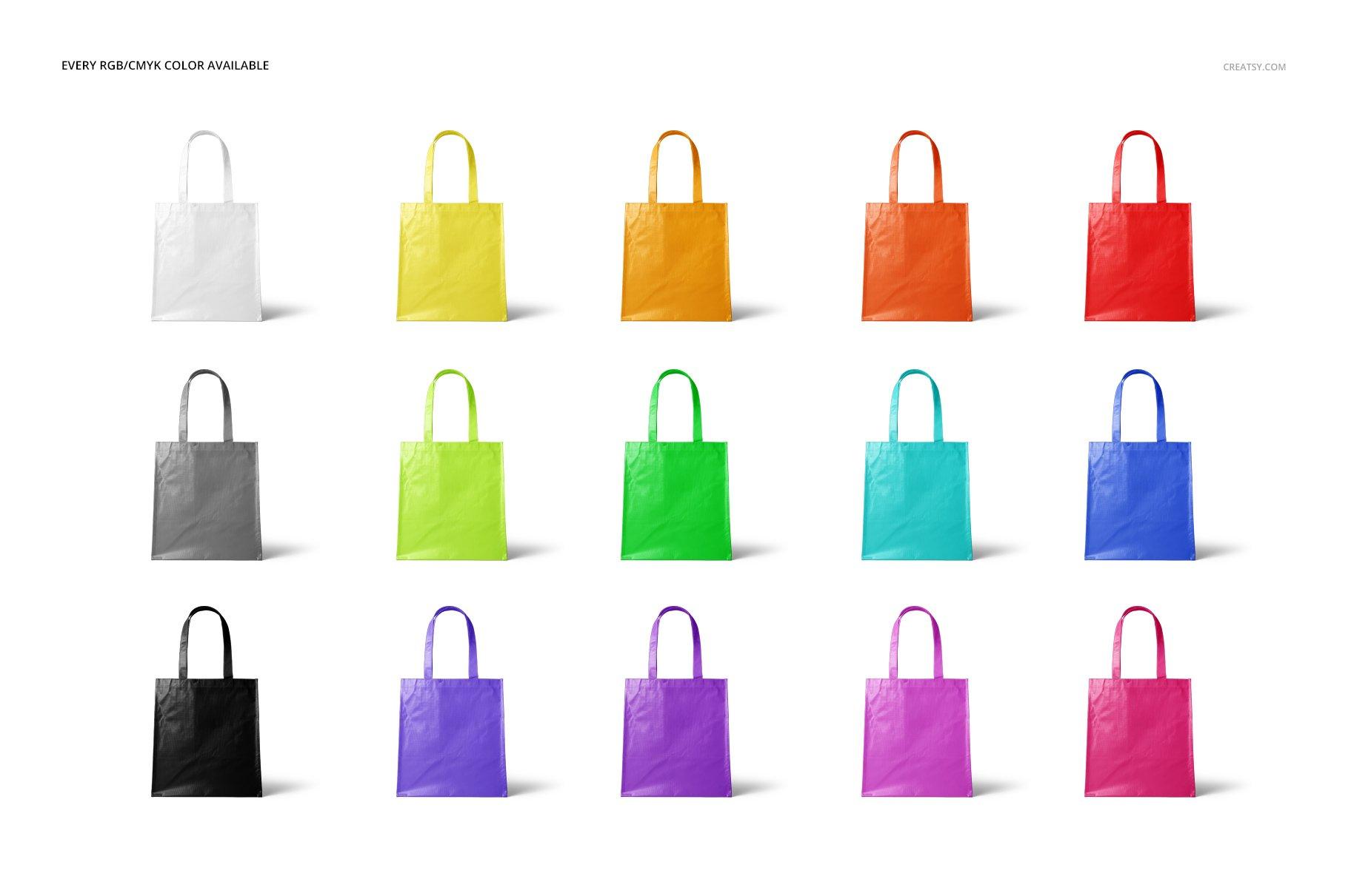 层压无纺布购物手提袋设计贴图样机模板套装 Laminated Non-Woven Bag Mockups 03插图(2)