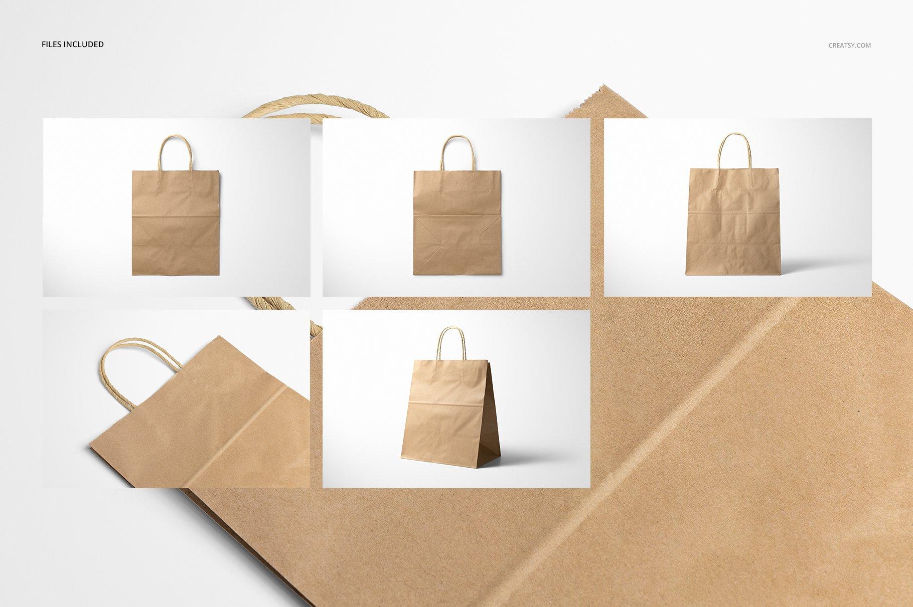 [淘宝购买] 时尚牛皮纸购物手提纸袋设计贴图样机模板 Natural Kraft Shopping Bag Mockup 2插图(3)