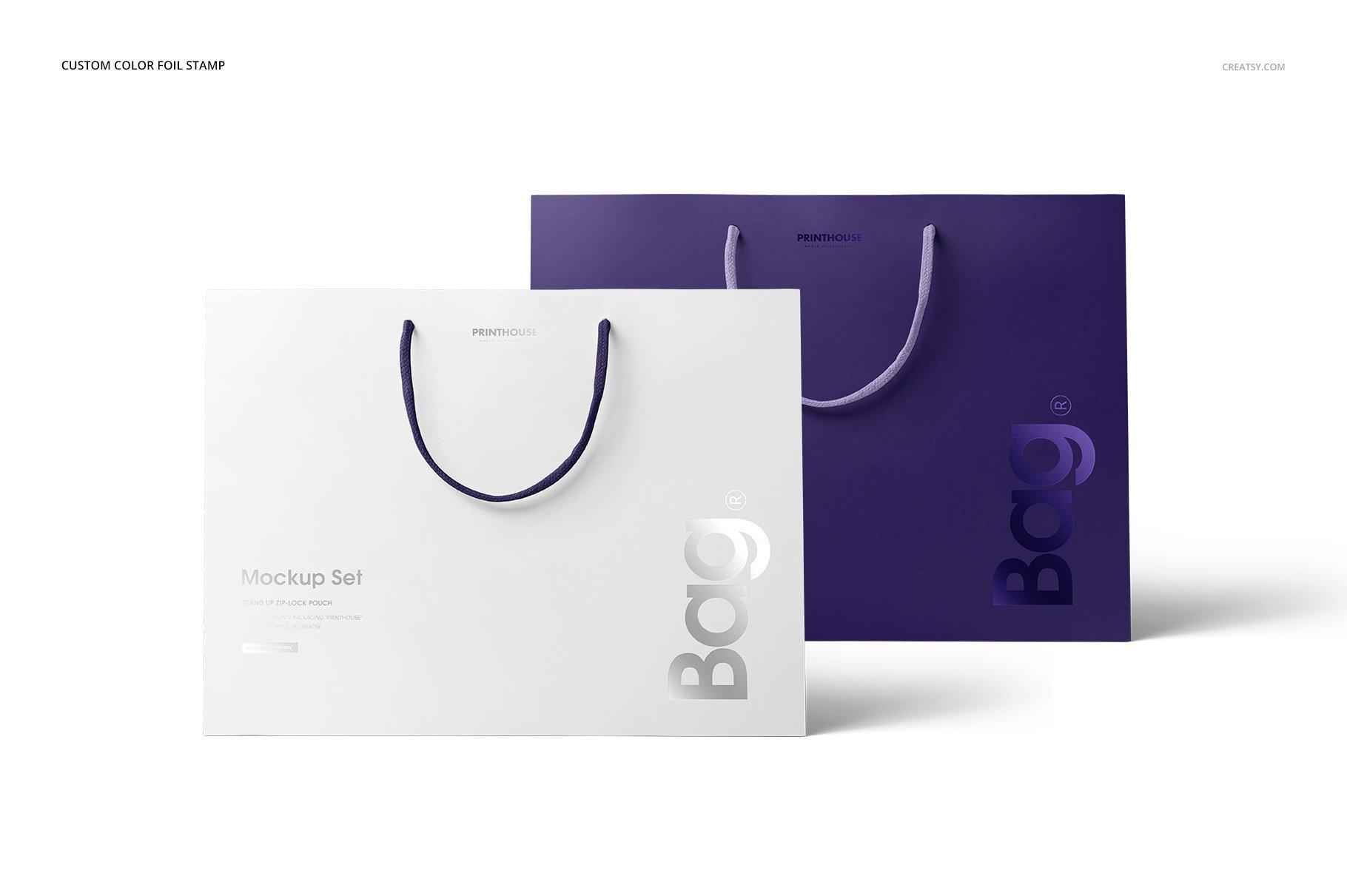 极简购物手提纸袋设计展示贴图样机PS设计素材 Eurotote Bag Mockup Set 1插图(3)