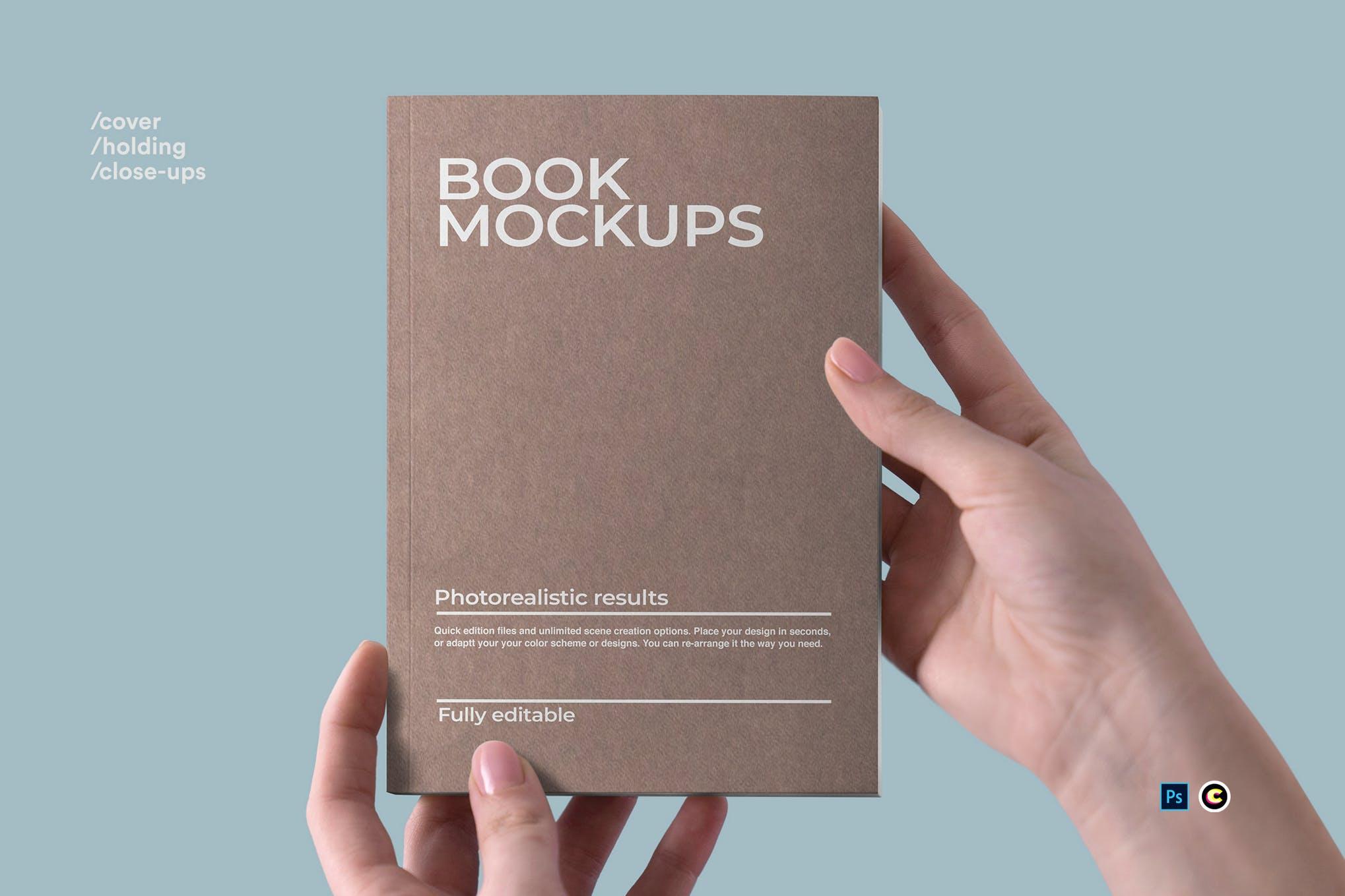 22款精装书画册封面设计展示样机PSD模板 Book Cover Mockups Pack插图(20)