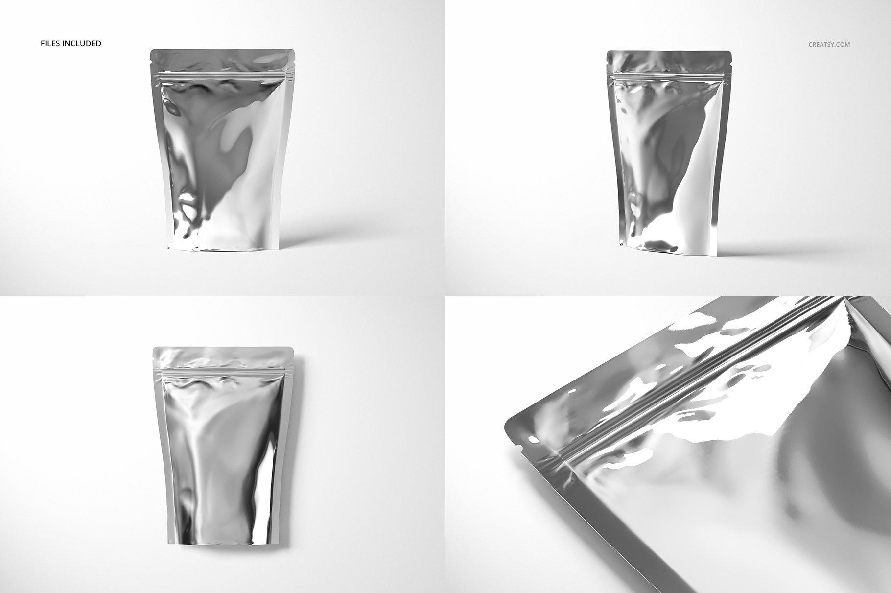时尚立式拉链锁自封袋塑料袋铝箔袋设计展示样机合集 Stand Up Pouch (metallic) Mockup Set插图(3)