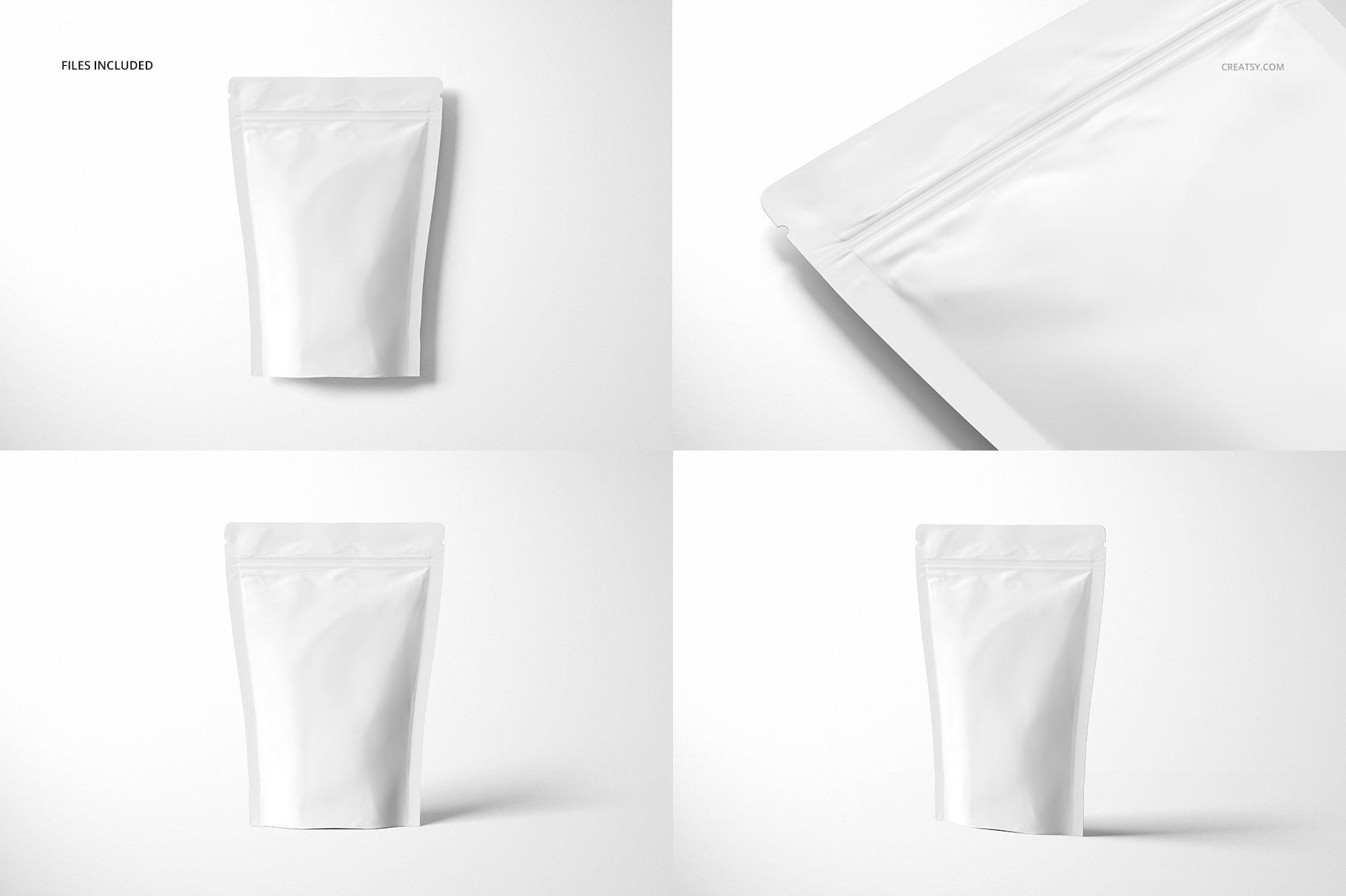 简约立式拉链锁食品自封袋塑料袋设计展示样机合集 Stand Up Pouch (mat) Mockup Set插图(3)
