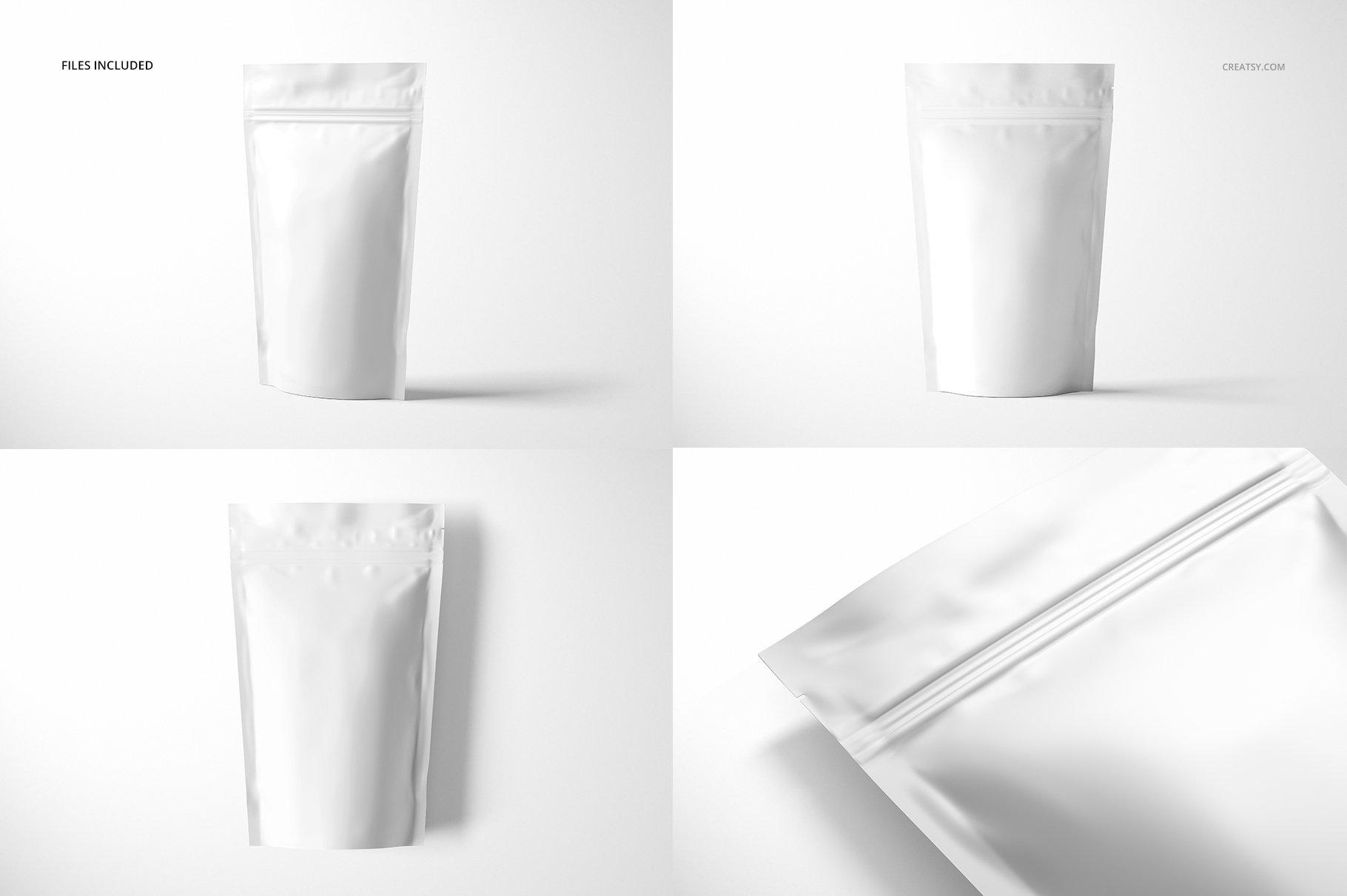 简约立式拉链锁食品自封袋塑料袋设计展示样机合集 Stand Up Pouch Mockup Set 2插图(3)