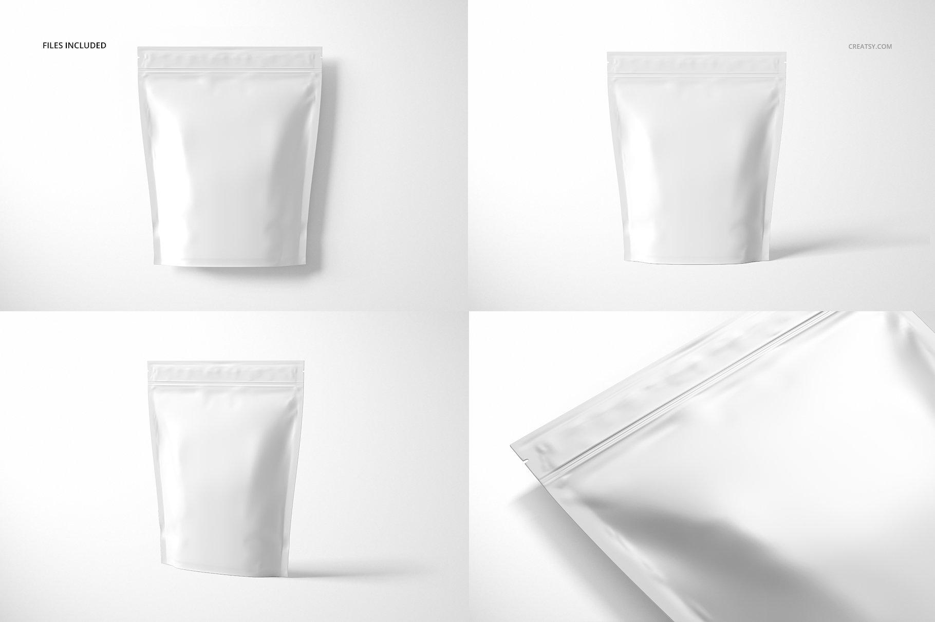 自立袋拉链锁自封袋塑料袋设计展示样机模板合集 Stand Up Zip Lock Pouch Mockup Set 3插图(3)