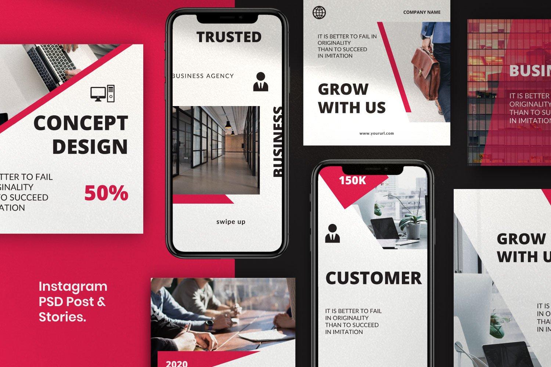 时尚几何元素修饰品牌推广新媒体电商徽标模板 ROGUE – Business Social Media Brand插图(2)