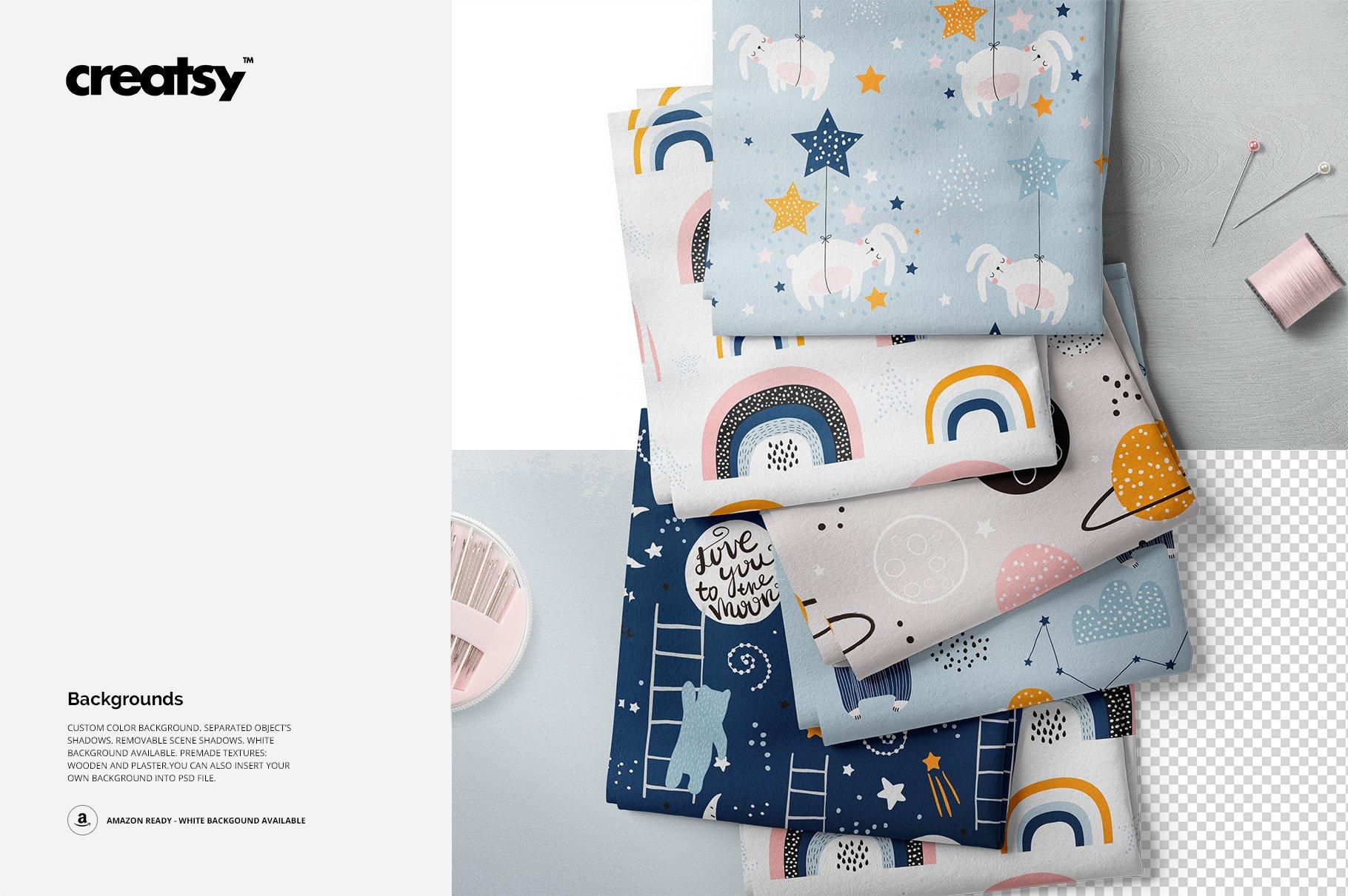 折叠纺织物布料图案印花设计展示贴图样机 Folded Fabrics Mockup 29/FF v.6插图(2)