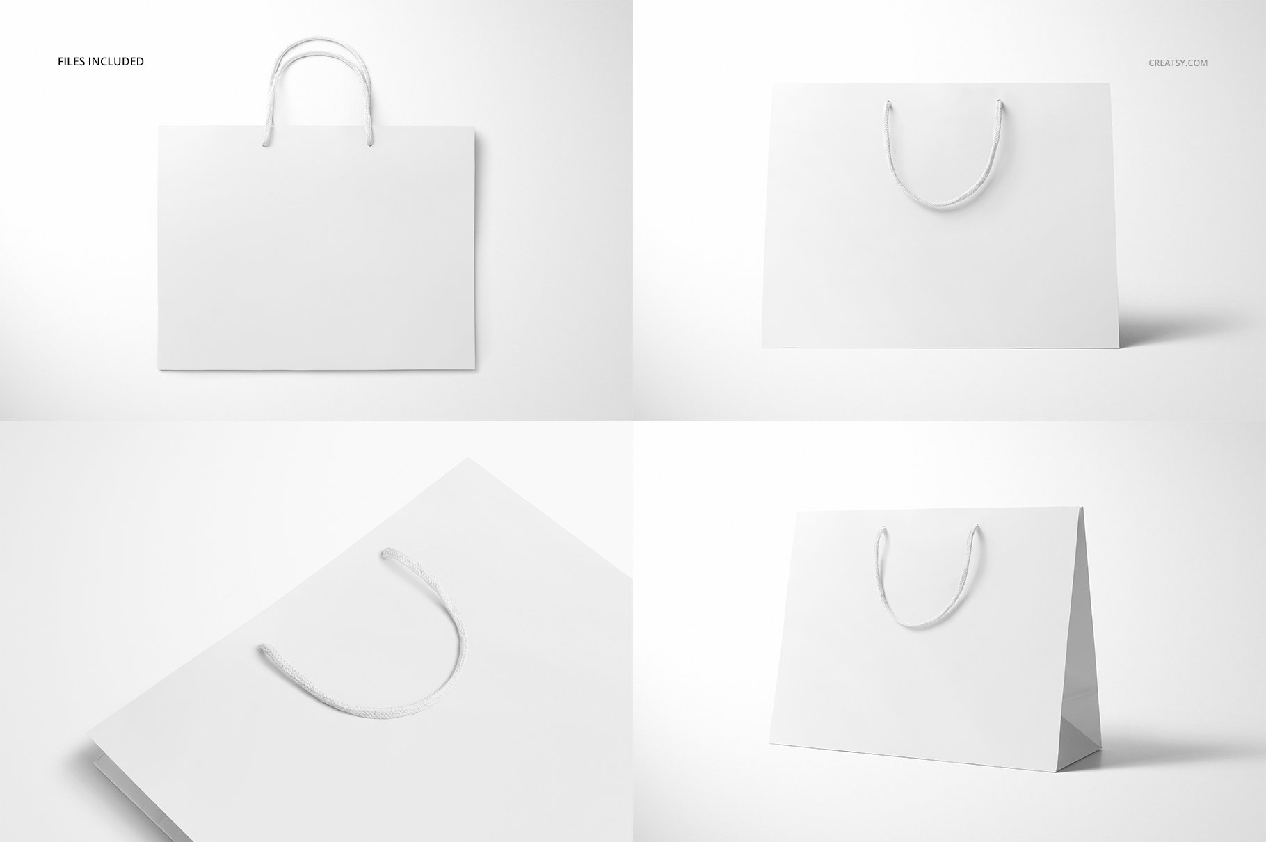 极简购物手提纸袋设计展示贴图样机PS设计素材 Eurotote Bag Mockup Set 1插图(4)