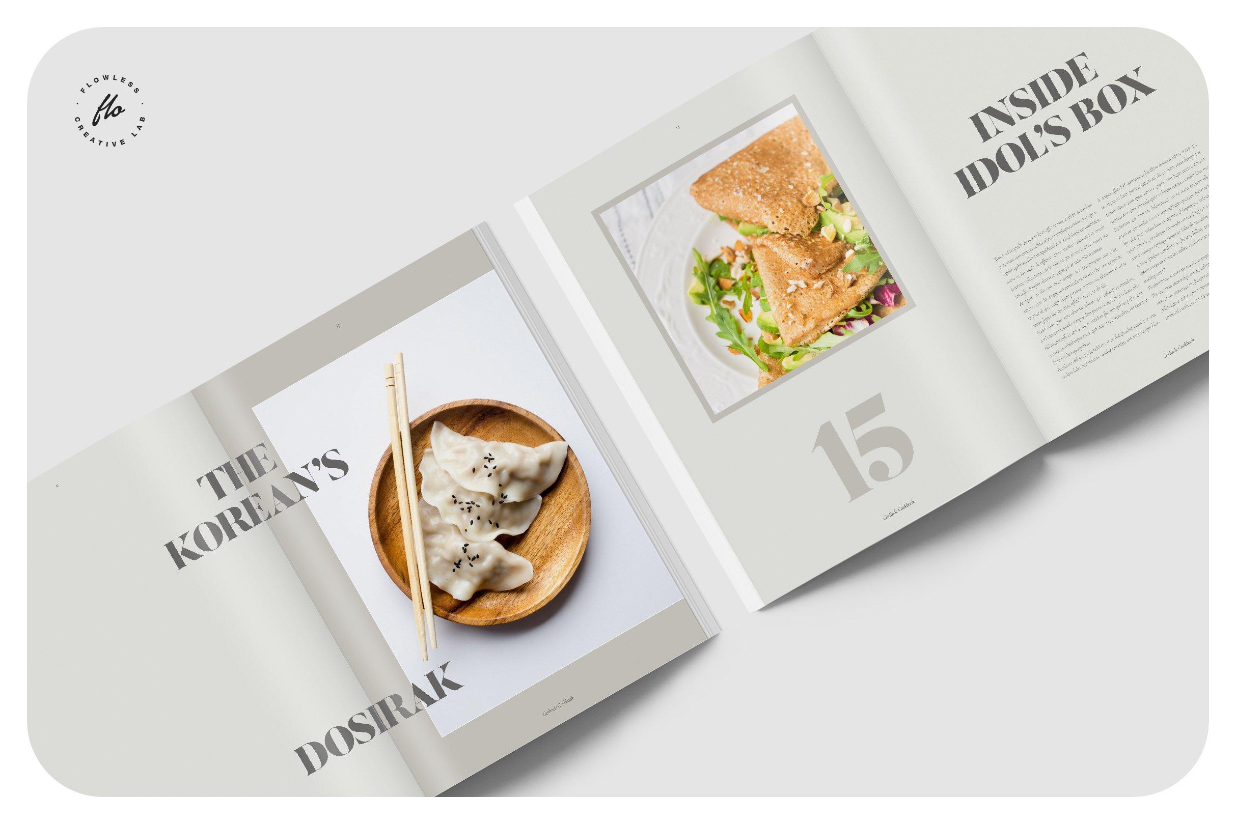 美食食谱菜单设计INDD画册模板 GERLIND Food Recipe Cookbook插图(2)