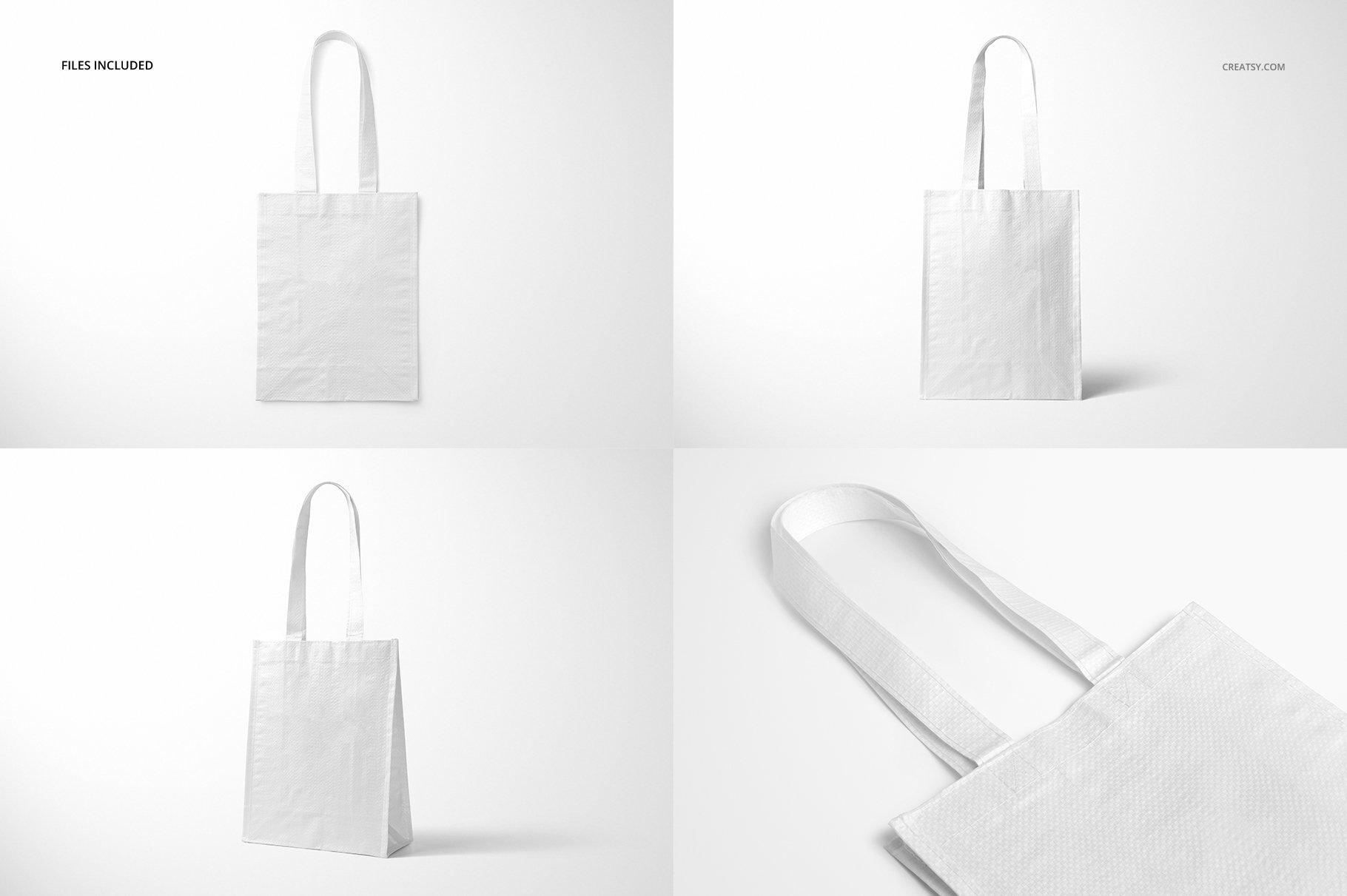 时尚编织手提购物袋设计展示贴图样机模板合集 Woven Tote Bag Mockup Set插图(3)