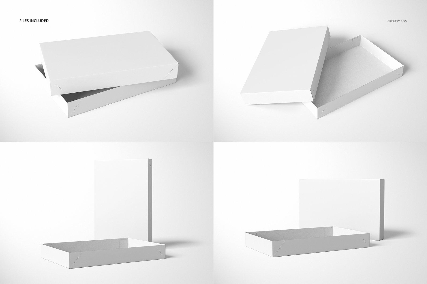 现代时尚服装纸盒设计展示贴图样机模板合集 2-Piece Apparel Box Mockup Set插图(4)